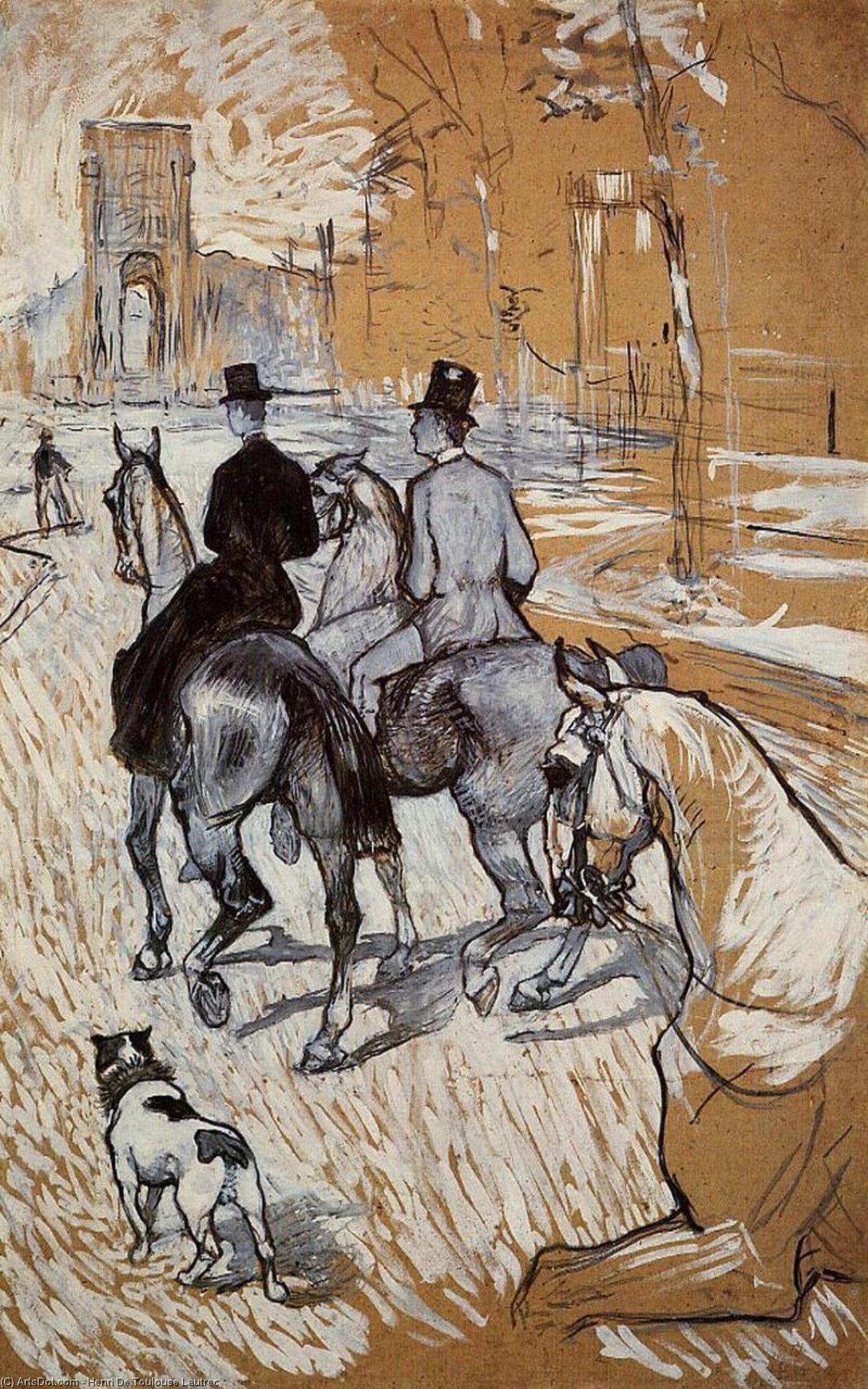 Horsemen Riding in the Bois de Boulogne, 1888 by Henri De Toulouse Lautrec (1864-1901, France) | Painting Copy | ArtsDot.com