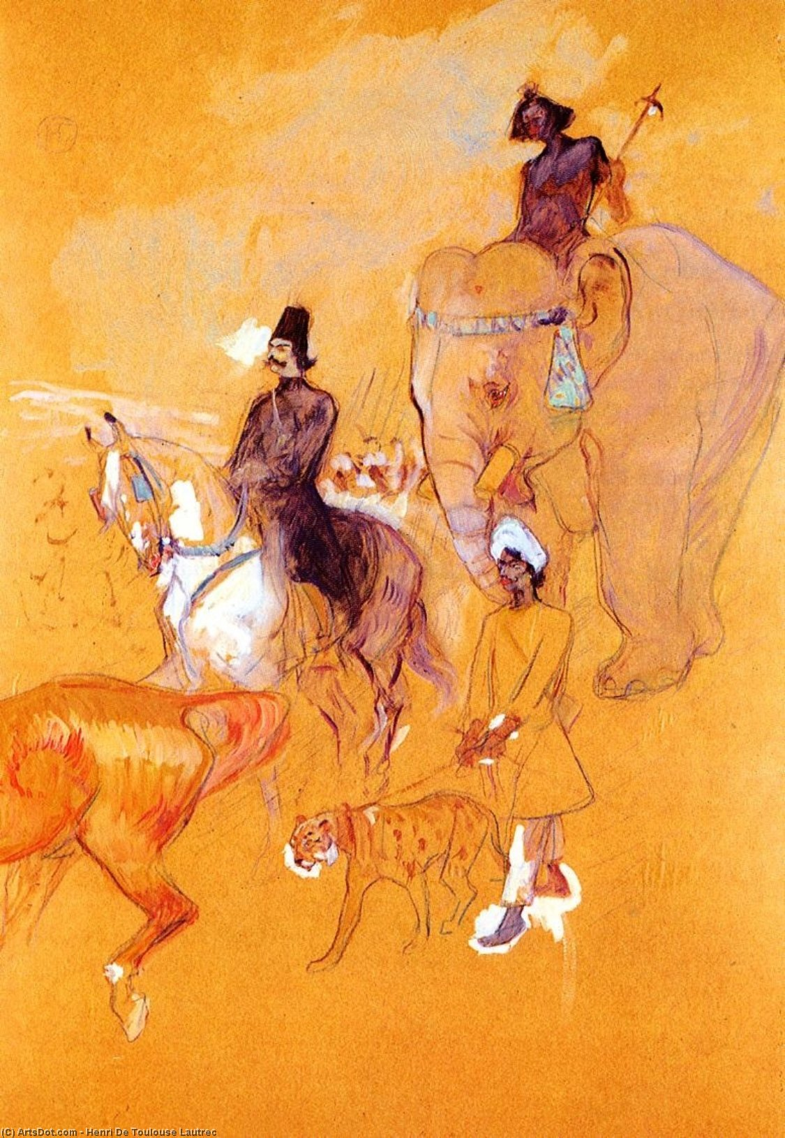 The Procession of the Raja, 1895 by Henri De Toulouse Lautrec (1864-1901, France)