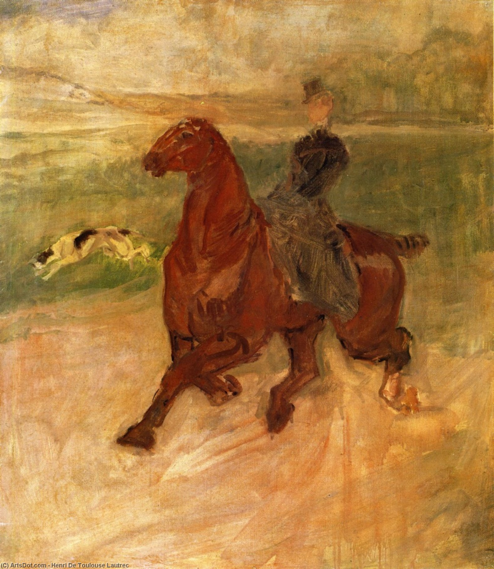 Woman Rider and Dog, Oil On Canvas by Henri De Toulouse Lautrec (1864-1901, France)