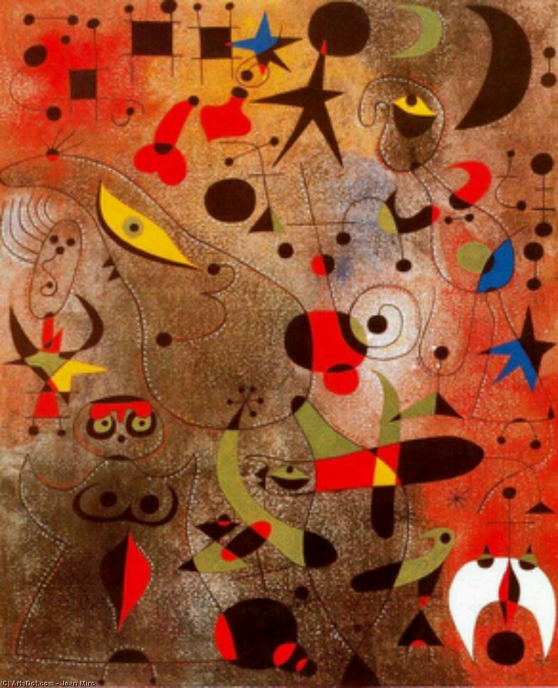 Constellation; Awakening at Dawn, Oil by Joan Miro (1893-1937, Spain)