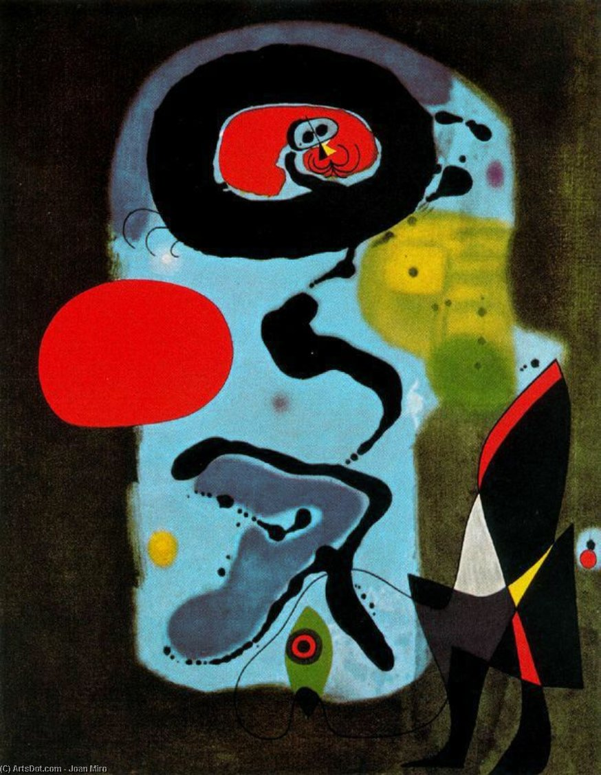 El sol rojo, Oil by Joan Miro (1893-1937, Spain)