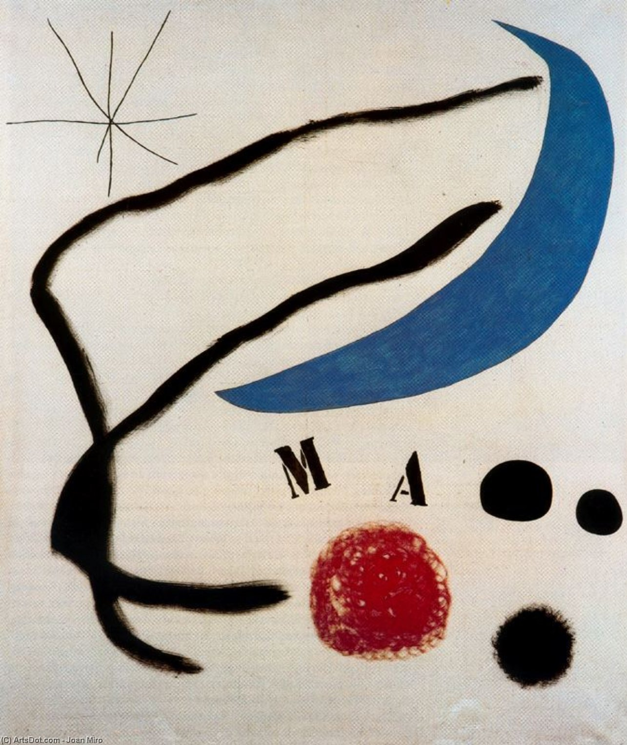 Poema, Oil by Joan Miro (1893-1983, Spain)
