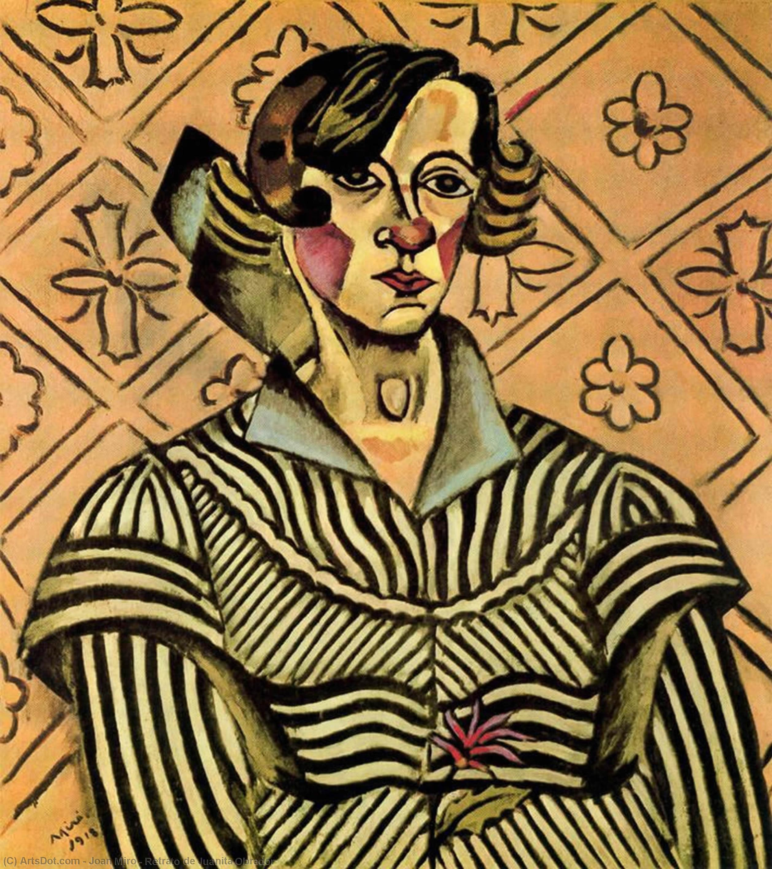 Retrato de Juanita Obrador by Joan Miro (1893-1937, Spain) | Painting Copy | ArtsDot.com