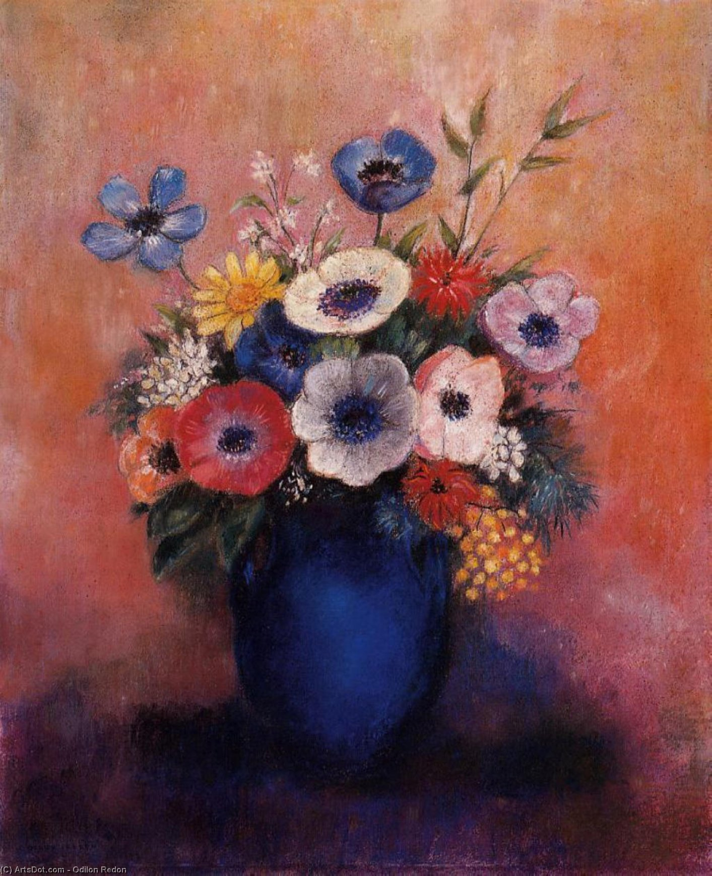 Order Museum Quality Copies | Bouquet of Flowers in a Blue Vase by Odilon Redon (1840-1916, France) | ArtsDot.com