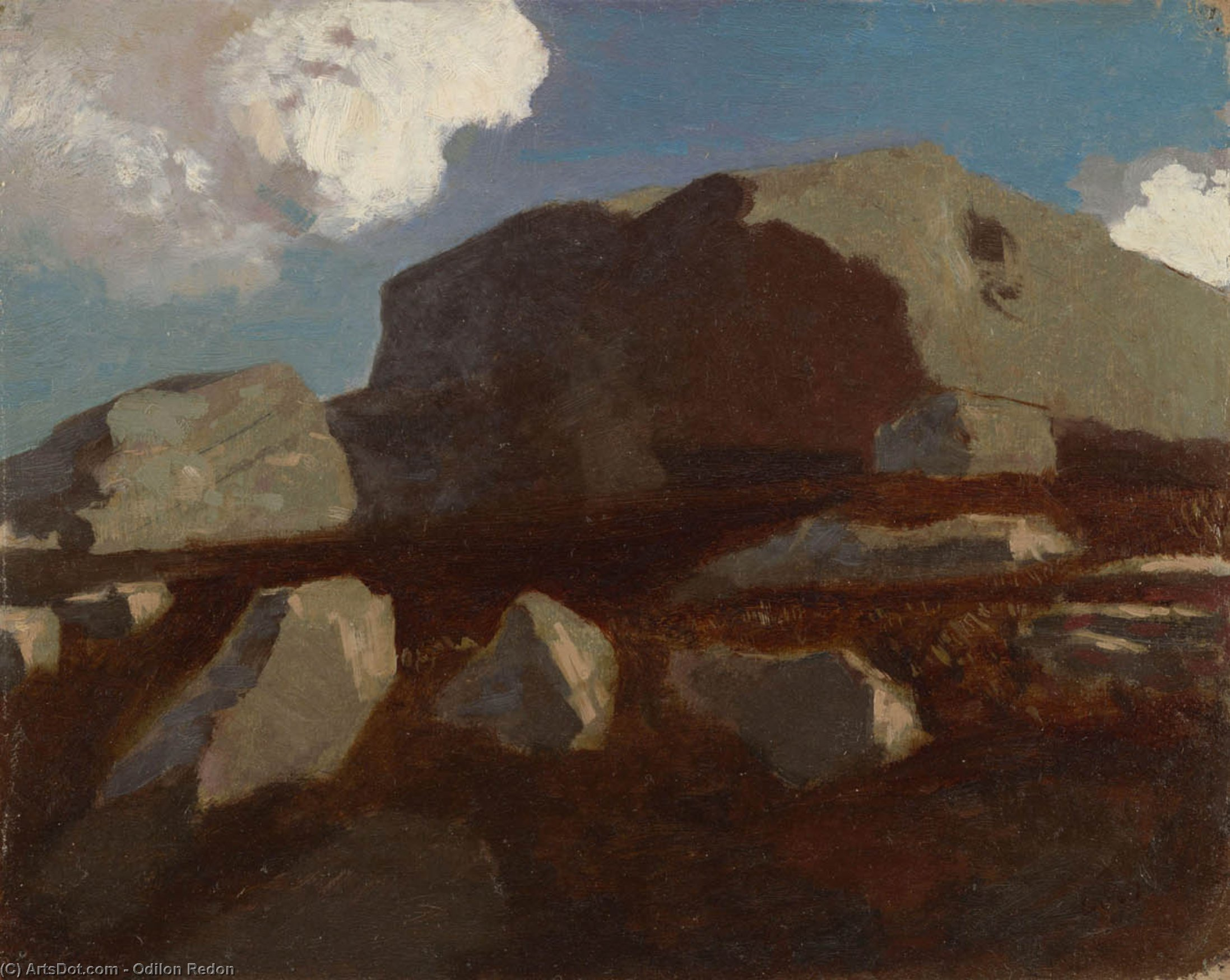 Landscape with Rocks, near Royan by Odilon Redon (1840-1916, France) | Museum Quality Reproductions | ArtsDot.com