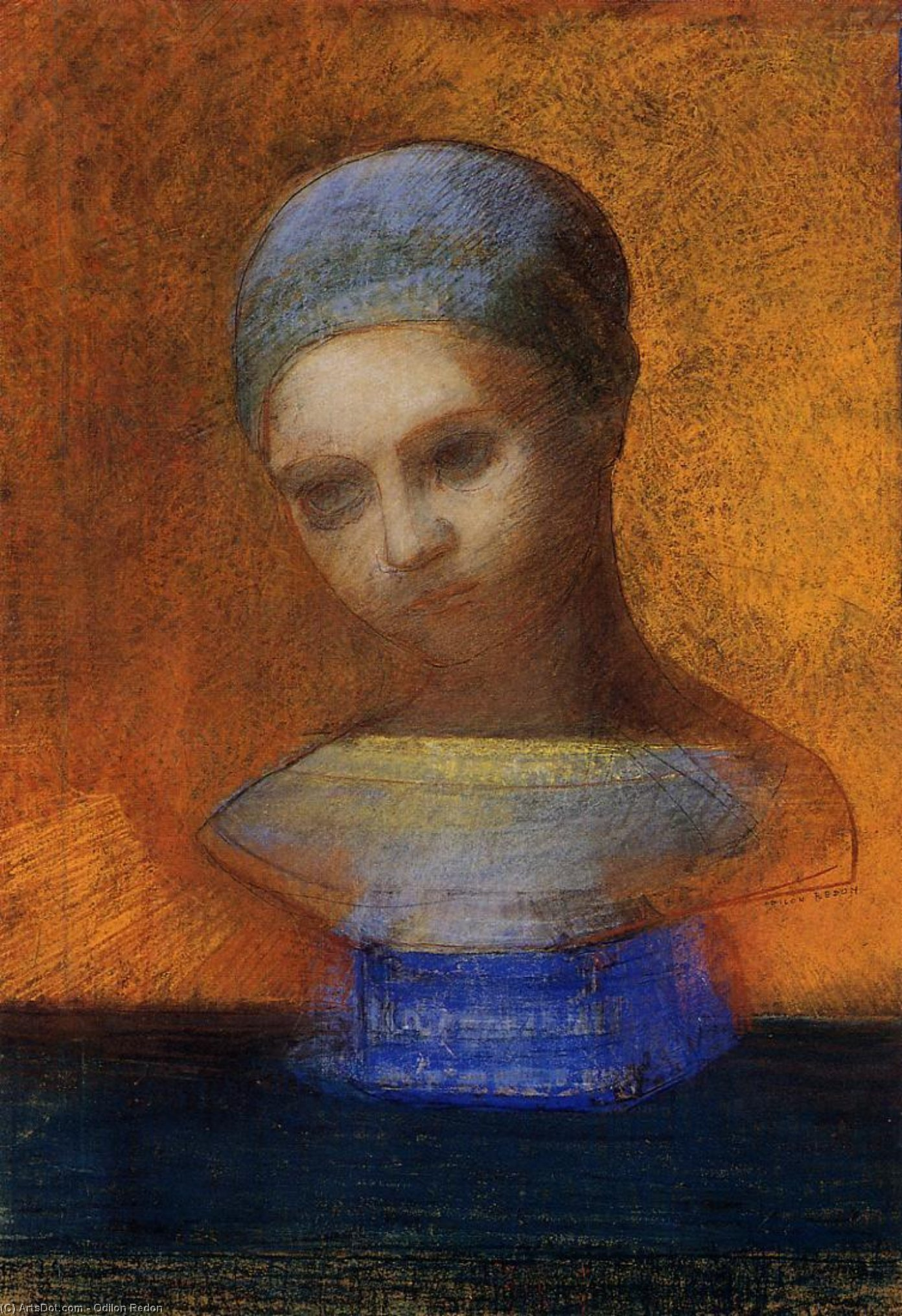 Small Bust Of A Young Girl by Odilon Redon (1840-1916, France) | Oil Painting | ArtsDot.com