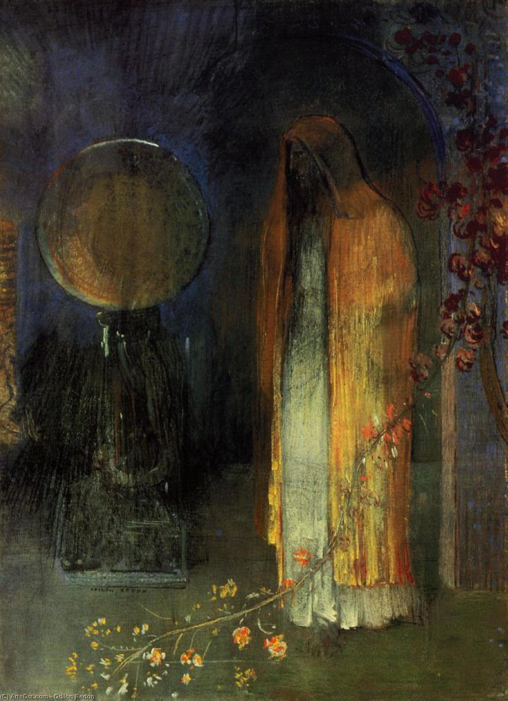 Order Painting Copy : The Yellow Cape, 1895 by Odilon Redon (1840-1916, France) | ArtsDot.com