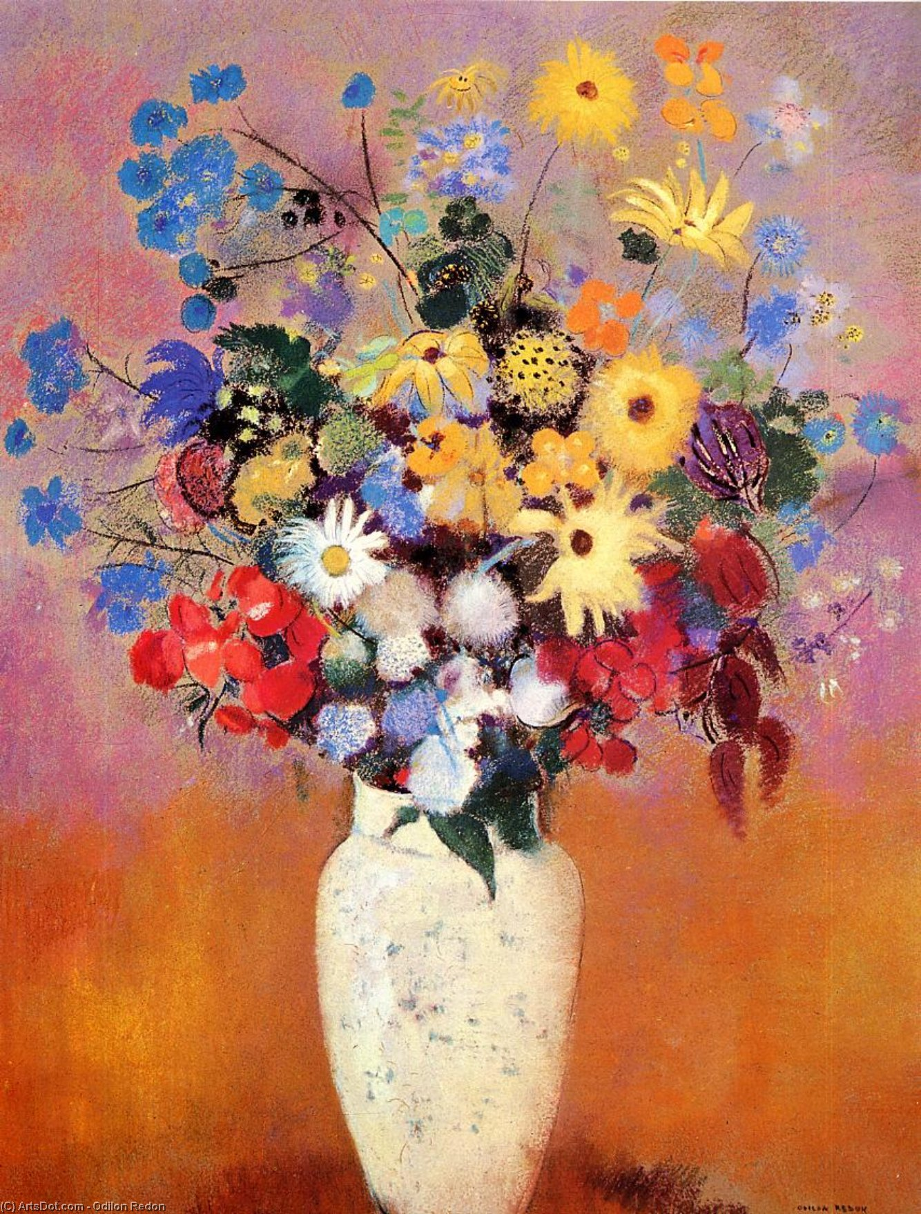 Vase of Flowers by Odilon Redon (1840-1916, France) | Painting Copy | ArtsDot.com