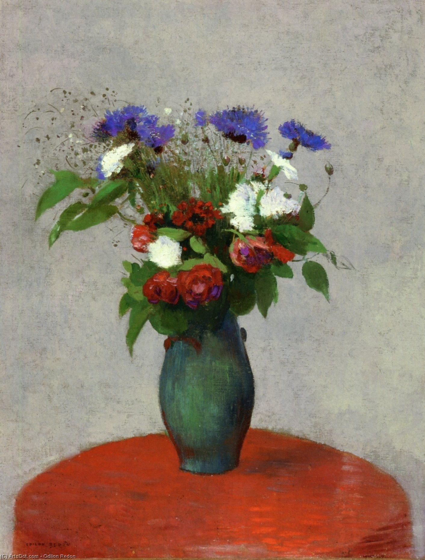 Vase of Flowers on a Red Tablecloth, 1900 by Odilon Redon (1840-1916, France) | Museum Quality Reproductions | ArtsDot.com