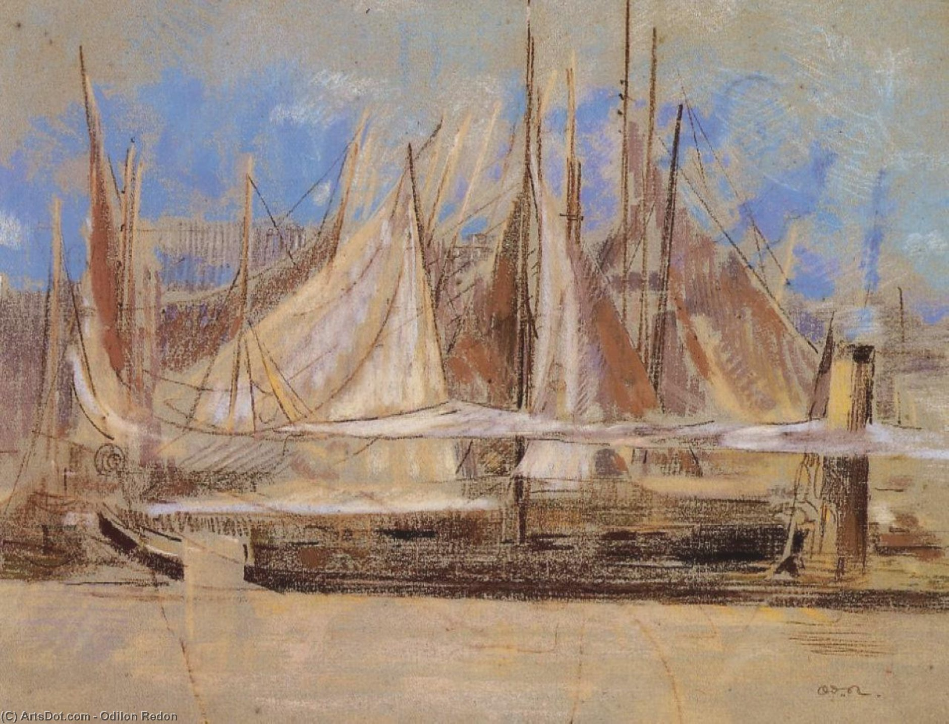 Yachts At Royan by Odilon Redon (1840-1916, France) | Paintings Reproductions Odilon Redon | ArtsDot.com