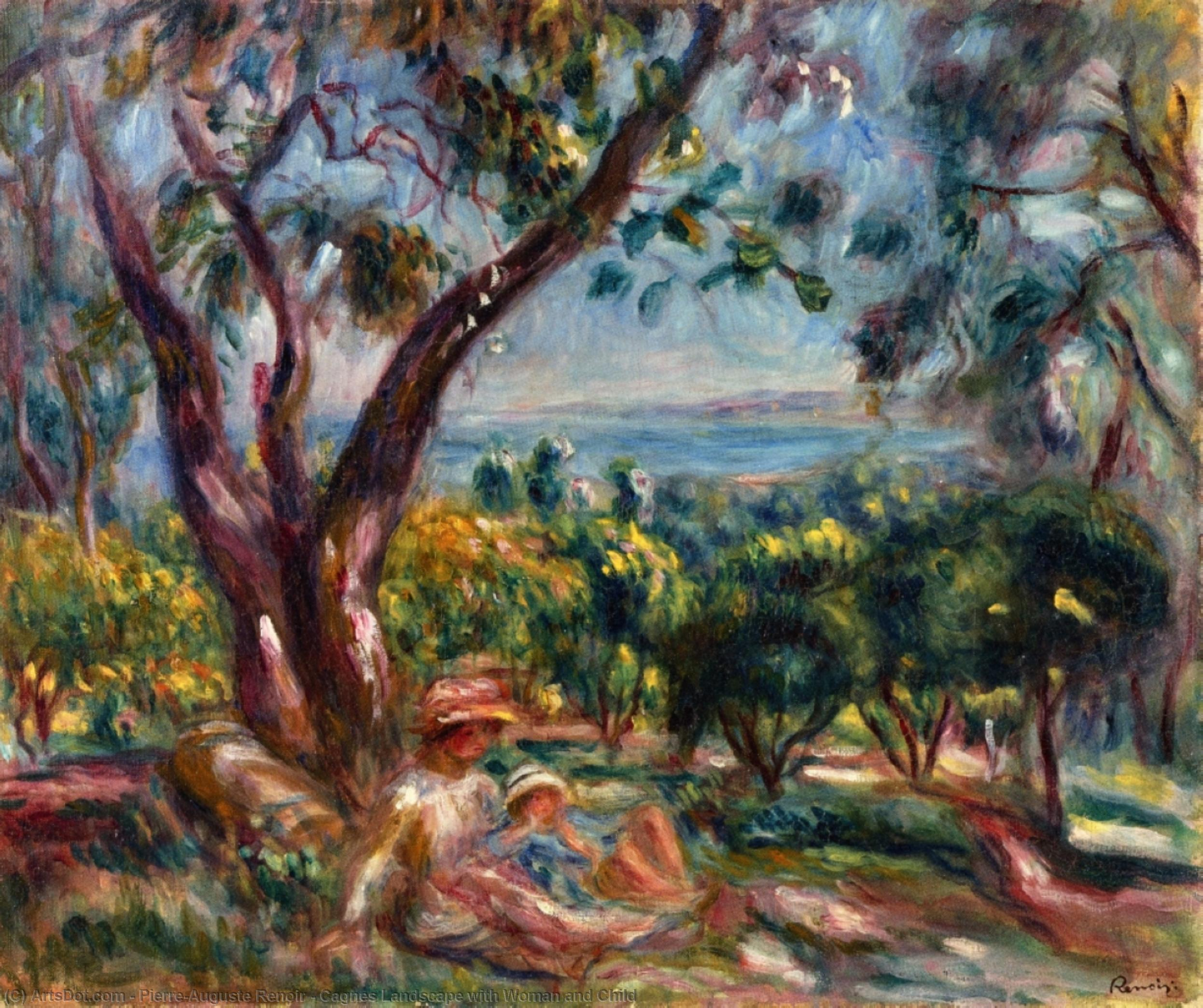 Cagnes Landscape with Woman and Child, 1910 by Pierre-Auguste Renoir (1841-1919, France) | Museum Quality Copies Pierre-Auguste Renoir | ArtsDot.com