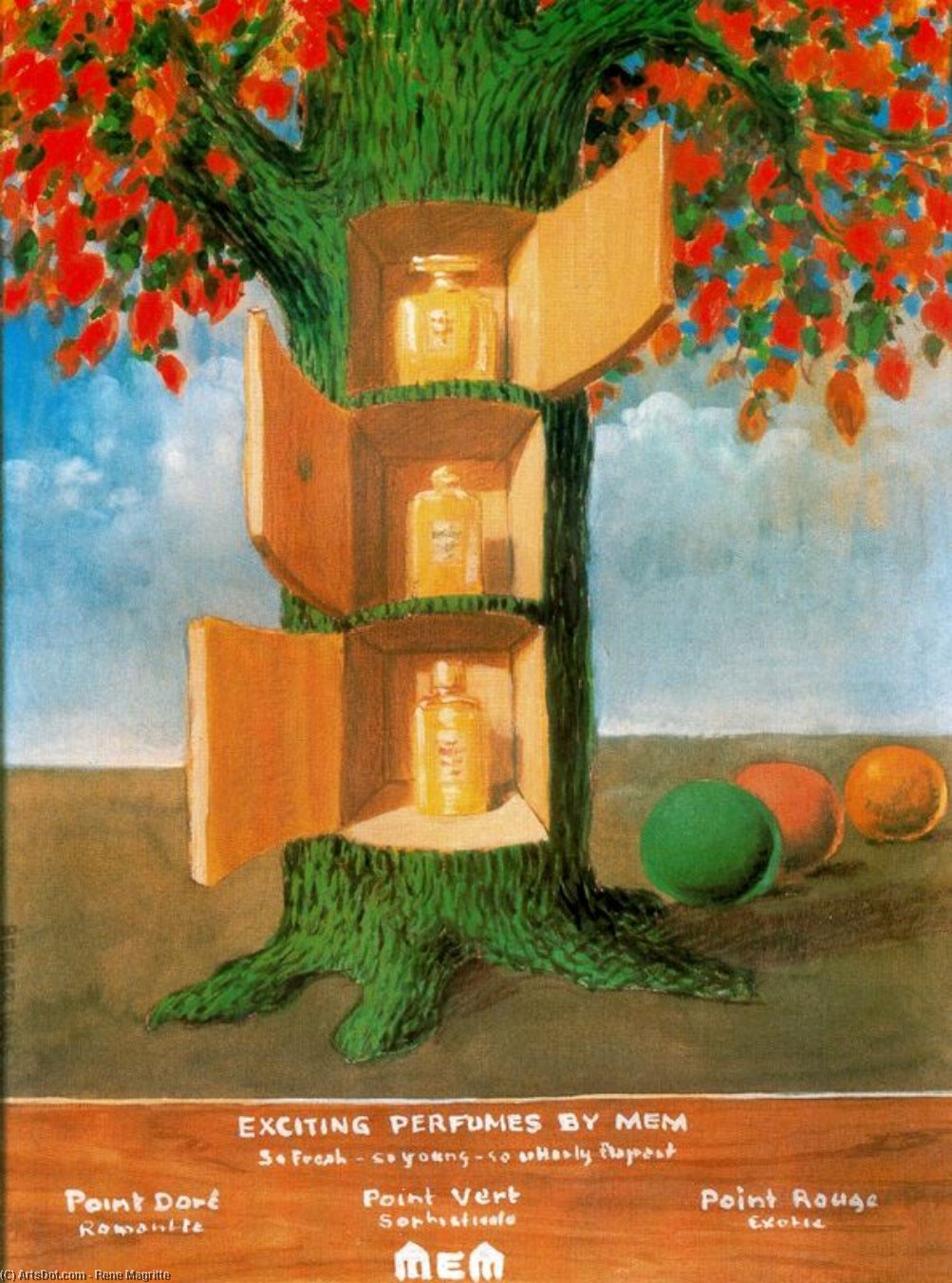 Exciting perfumes by Mem, Oil by Rene Magritte (1898-1967, Belgium)