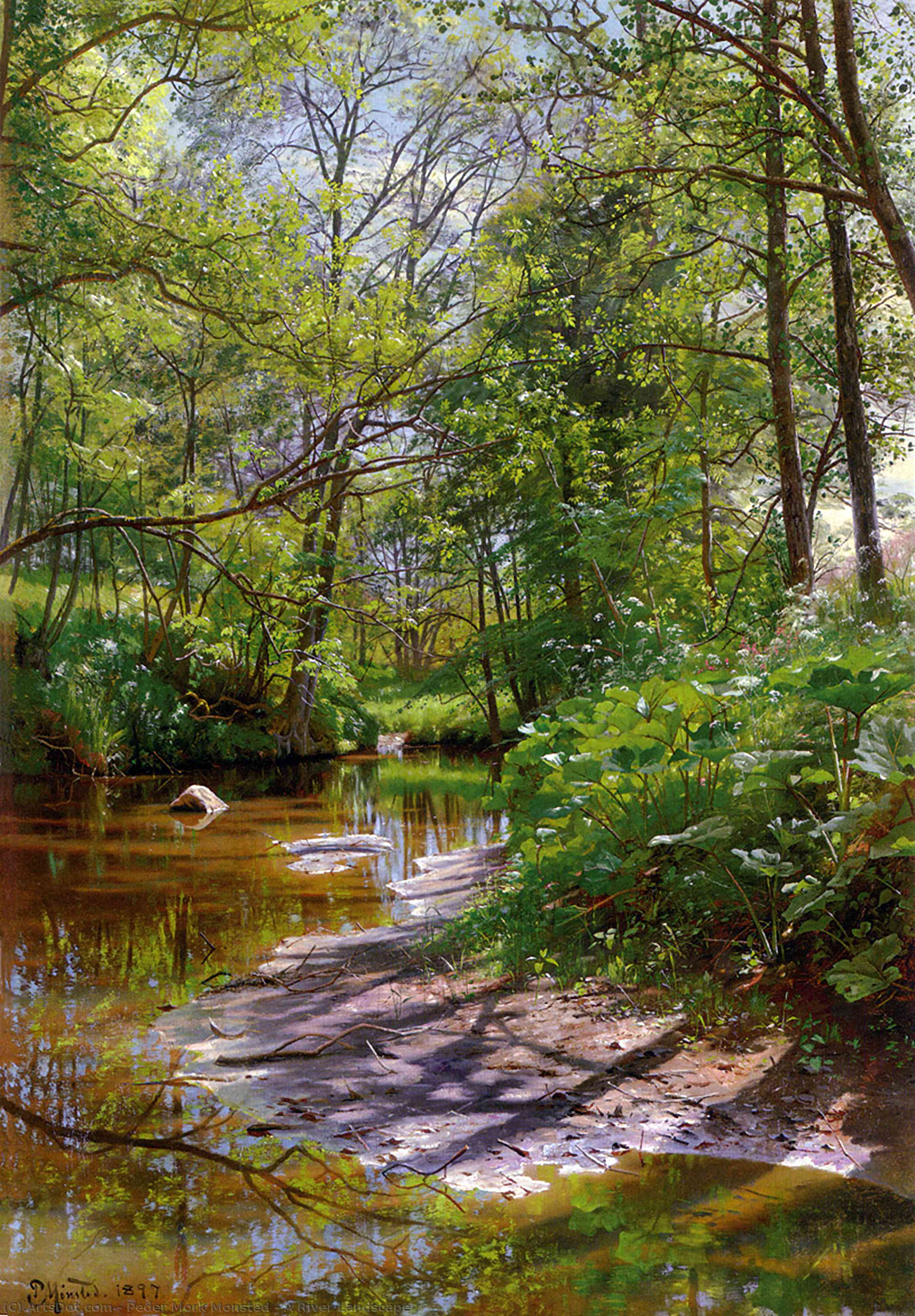A River Landscape by Peder Mork Monsted (1859-1941, Denmark) | Paintings Reproductions Peder Mork Monsted | ArtsDot.com