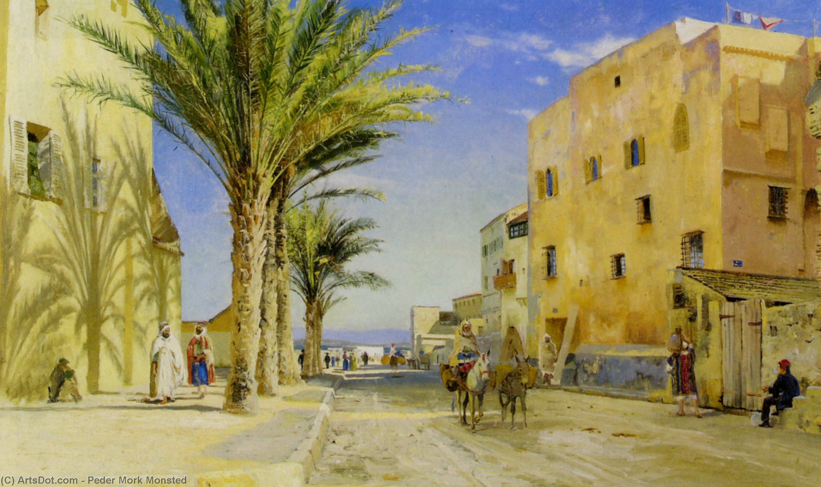 Street in Algiers by Peder Mork Monsted (1859-1941, Denmark) | Museum Art Reproductions Peder Mork Monsted | ArtsDot.com