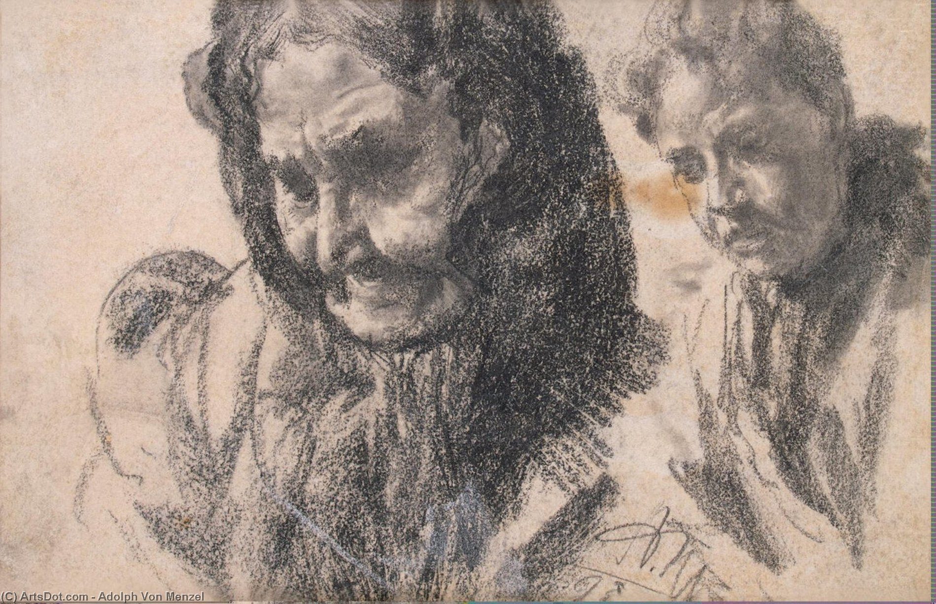 Study of Two Female Figures by Adolph Menzel (1815-1905, Poland)
