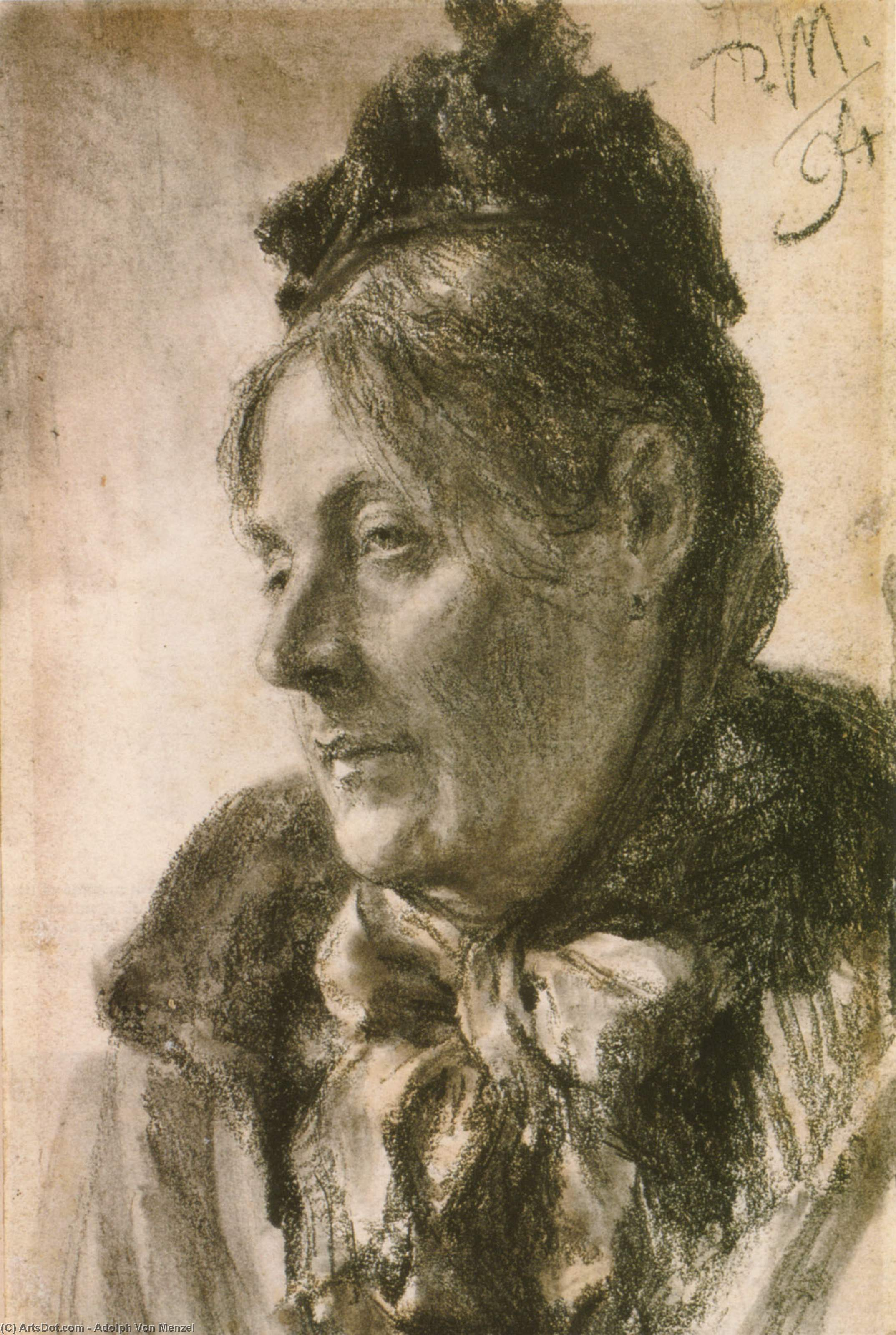The Head of a Woman, Drawing by Adolph Menzel (1815-1905, Poland)