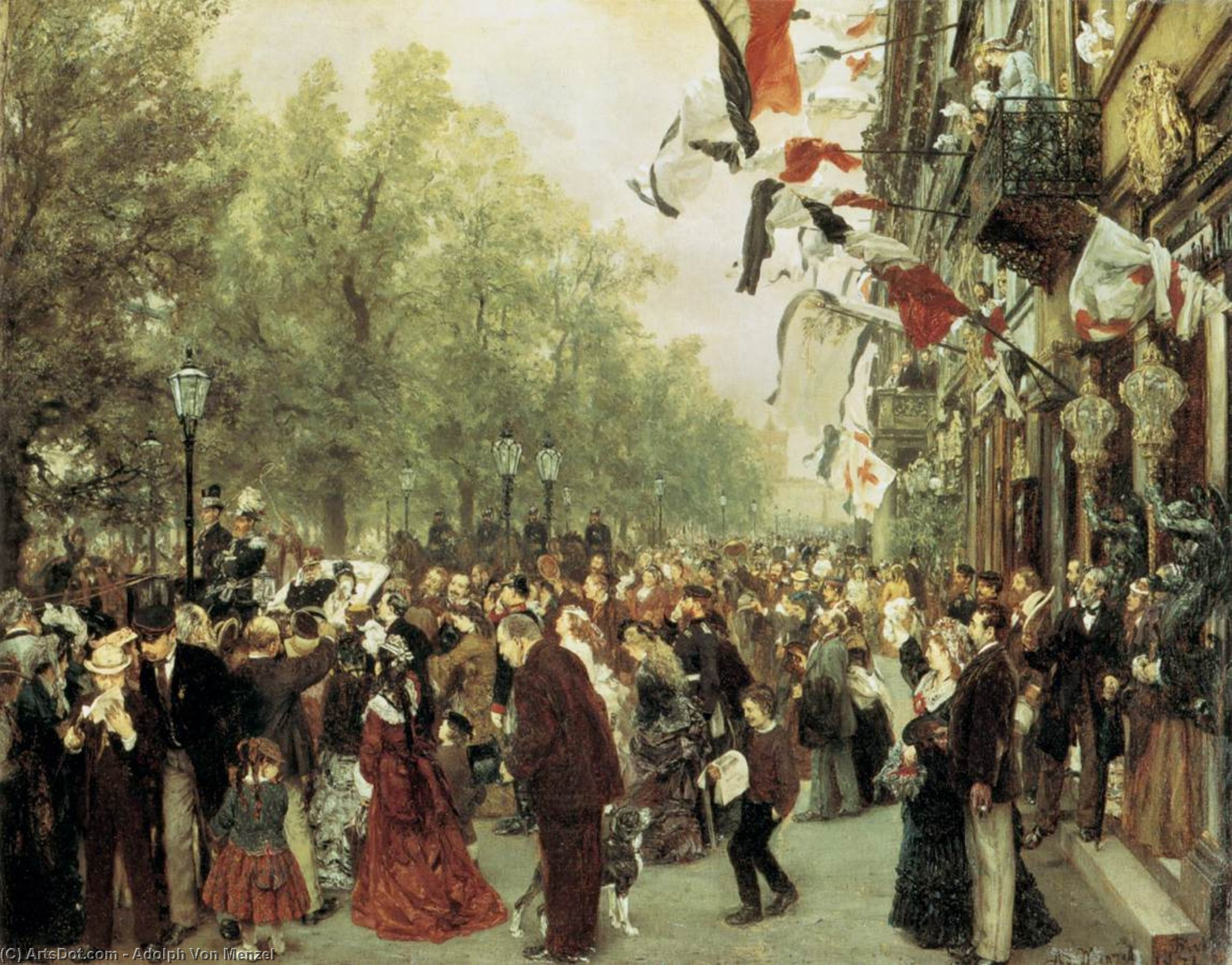William I Departs for the Front, July 31, 1870, Drawing, Oil On Canvas by Adolph Menzel (1815-1905, Poland)