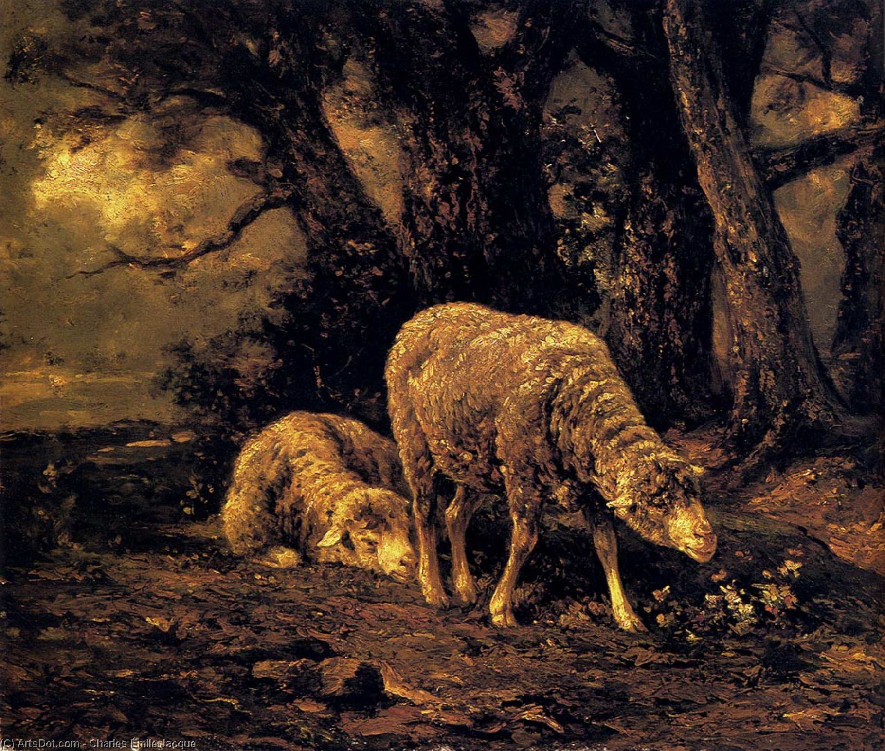Sheep In A Forest by Charles Émile Jacque (1813-1894, France) | ArtsDot.com