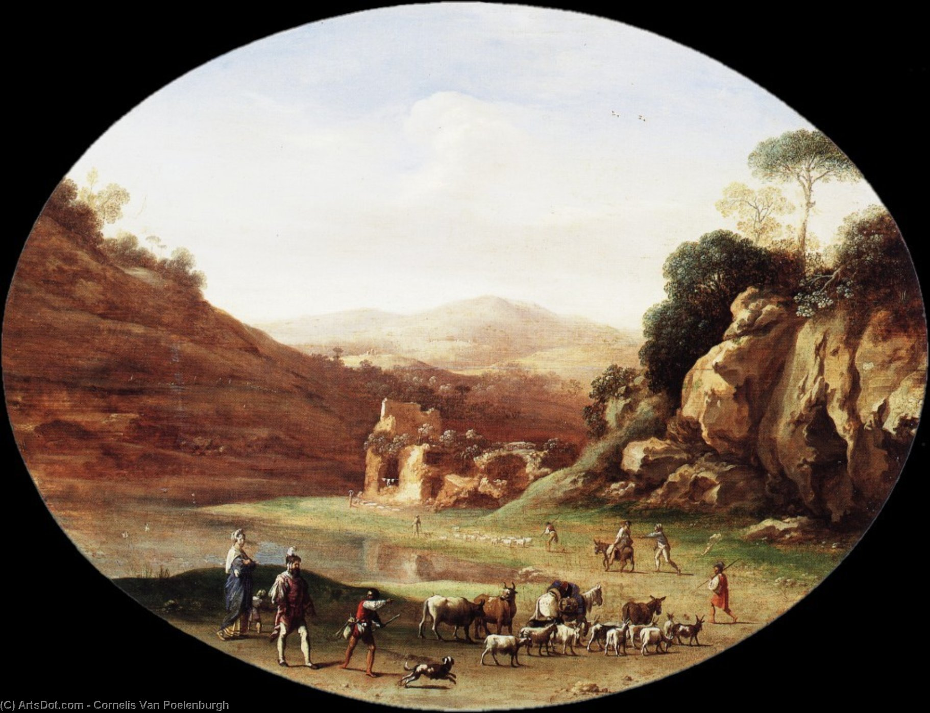 Valley with Ruins and Figures, Drawing by Cornelis Van Poelenburgh (1595-1667, Netherlands)