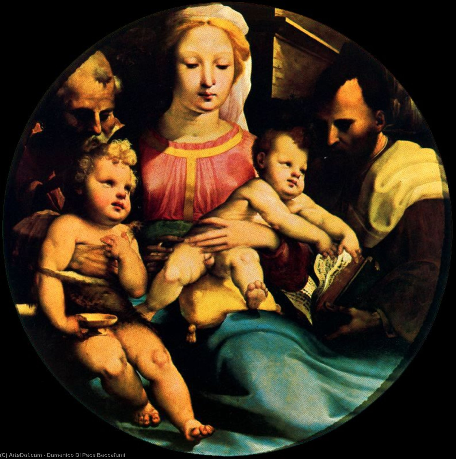 Holy Family with St. John and a donor, Drawing by Domenico Di Pace Beccafumi (1486-1551, Italy)