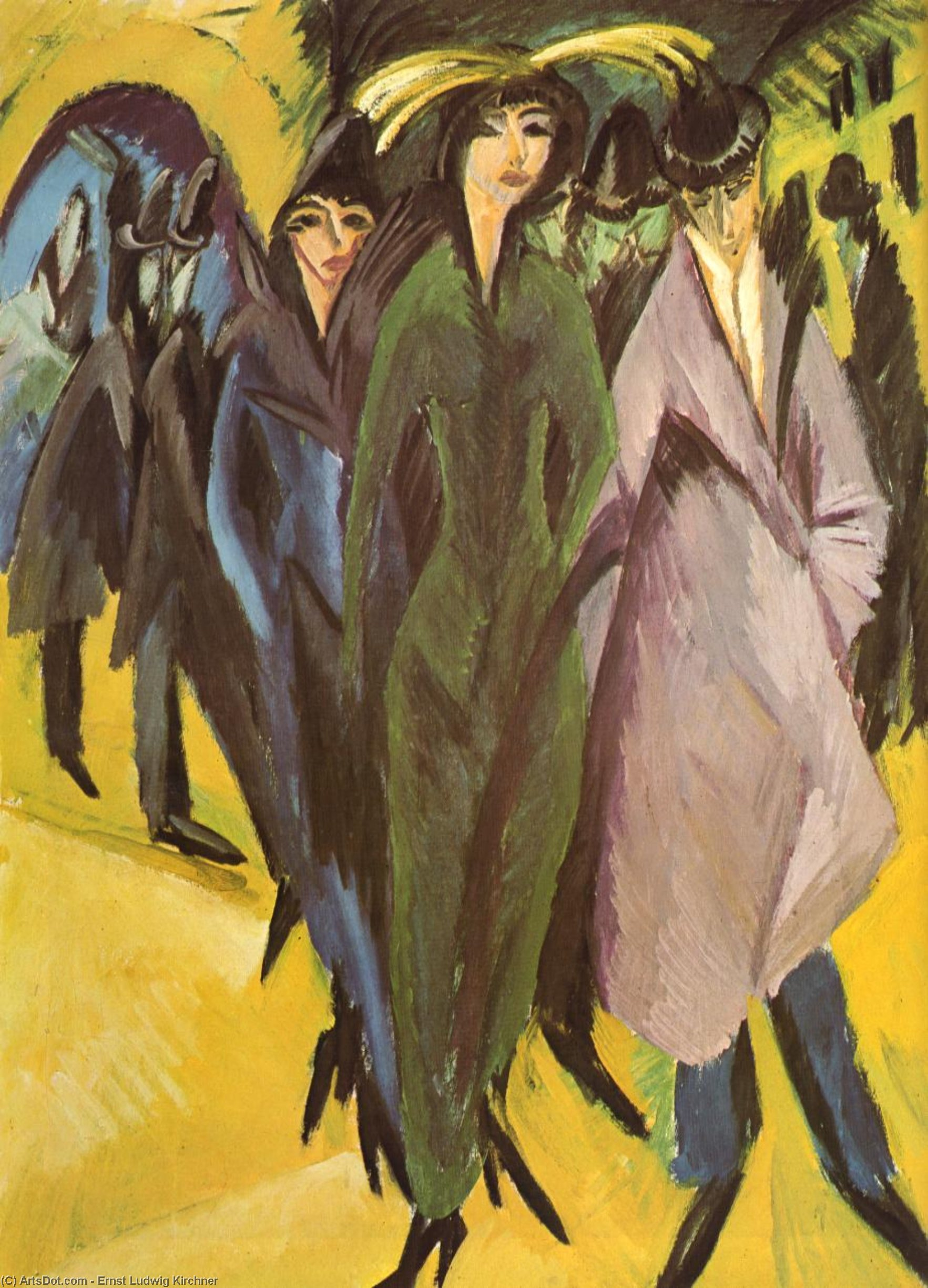 Women in the street by Ernst Ludwig Kirchner (1880-1938, Germany) | Art Reproductions Ernst Ludwig Kirchner | ArtsDot.com
