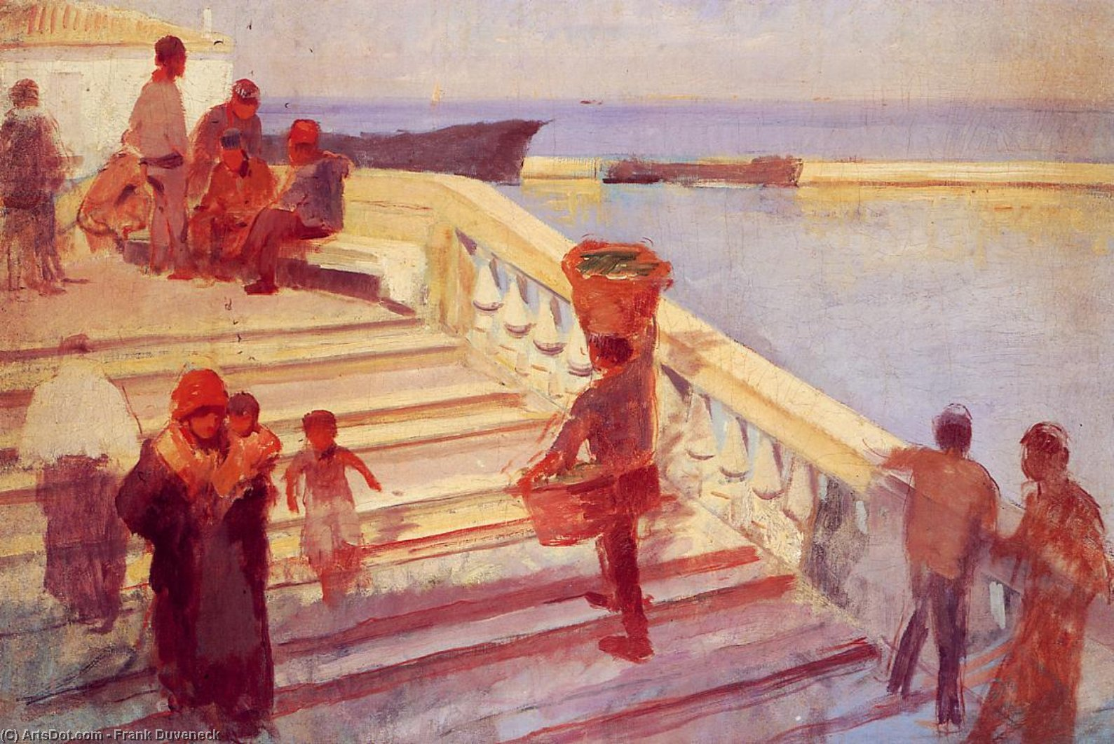 Figures on Venetian Steps, Oil On Canvas by Frank Duveneck (1848-1919, United States)