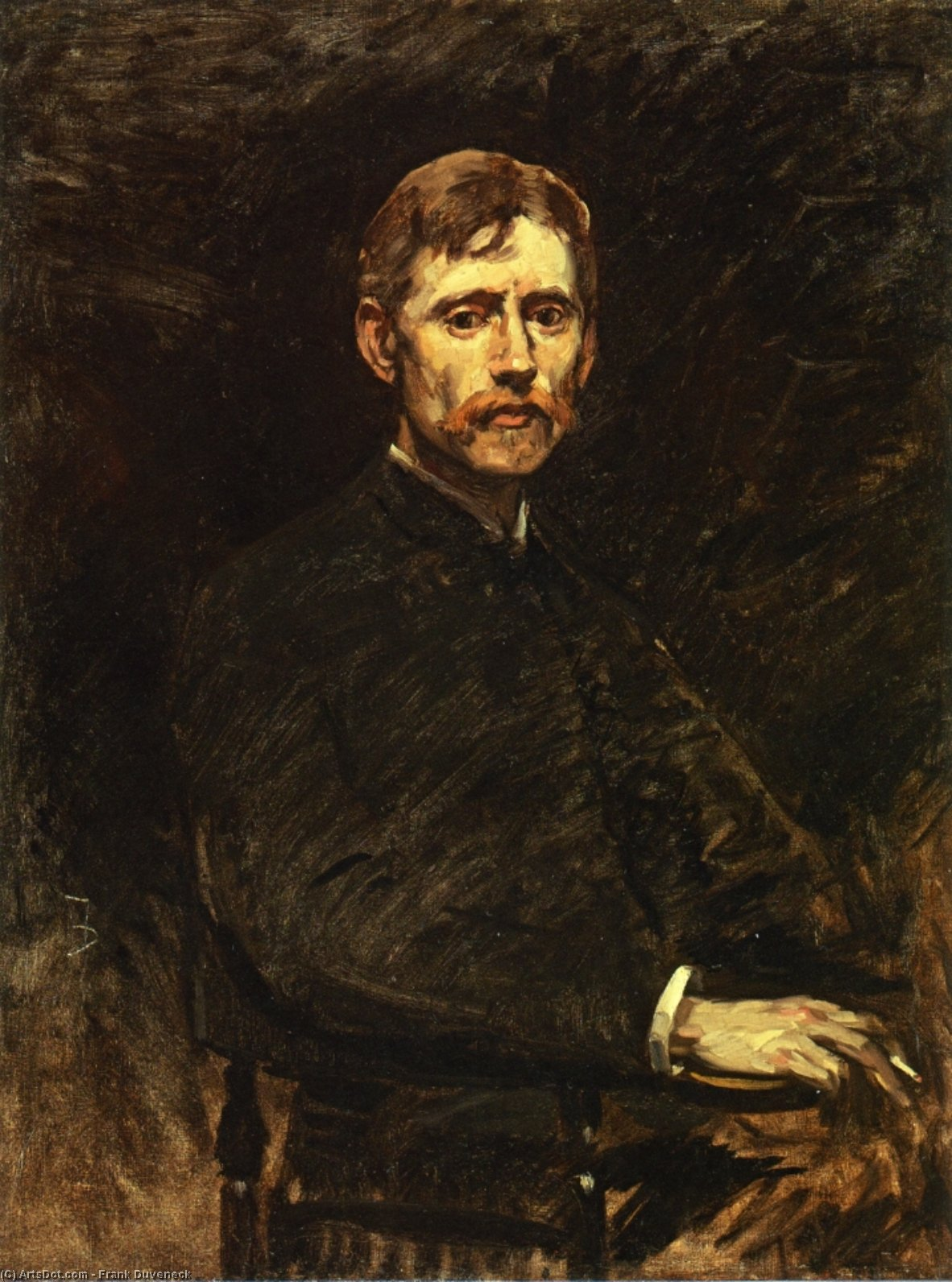 Portrait of Emil Carlson, Oil On Canvas by Frank Duveneck (1848-1919, United States)