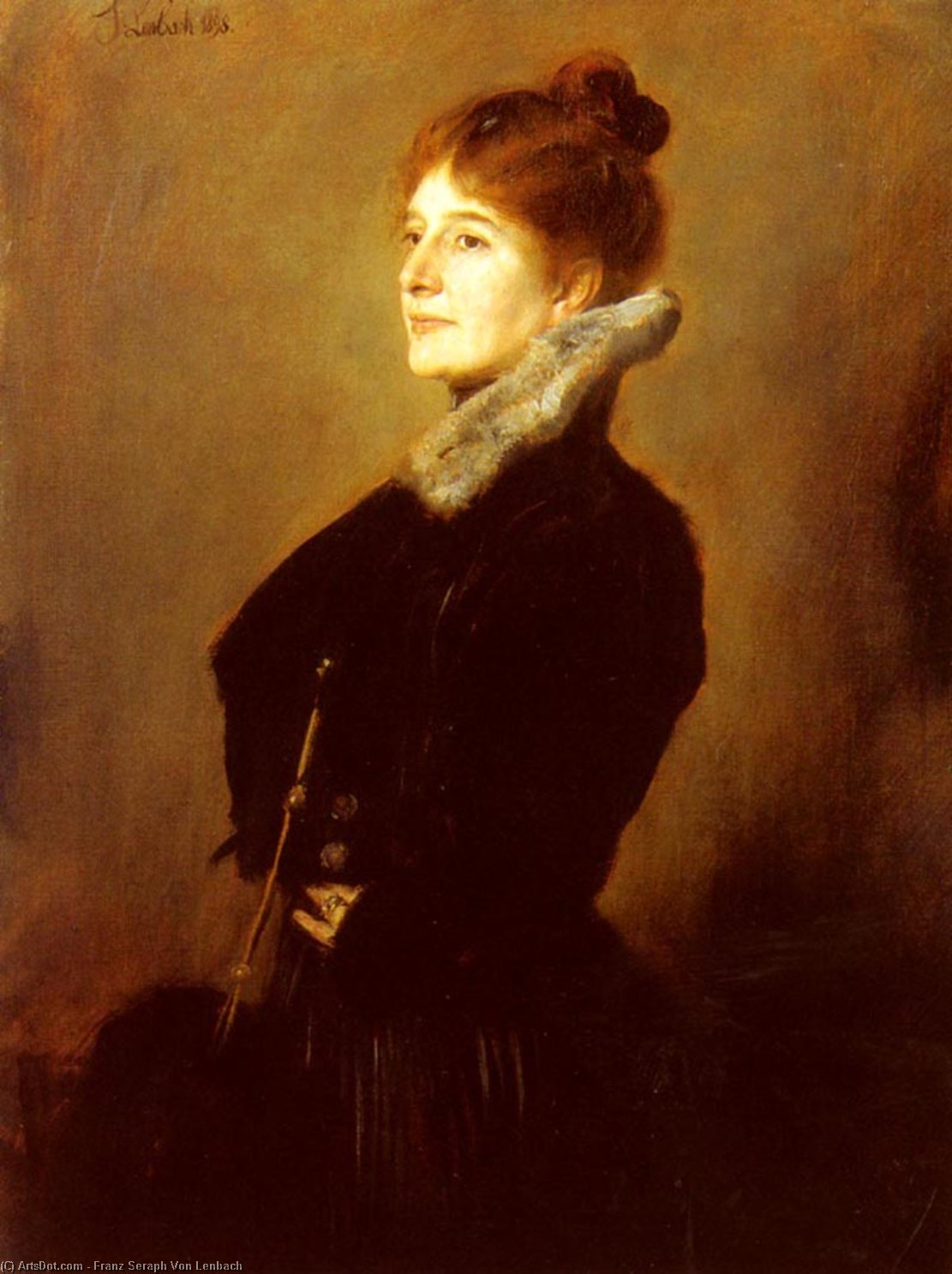Portrait Of A Lady Wearing A Black Coat With Fur Collar by Franz Seraph Von Lenbach (1836-1904, Germany)
