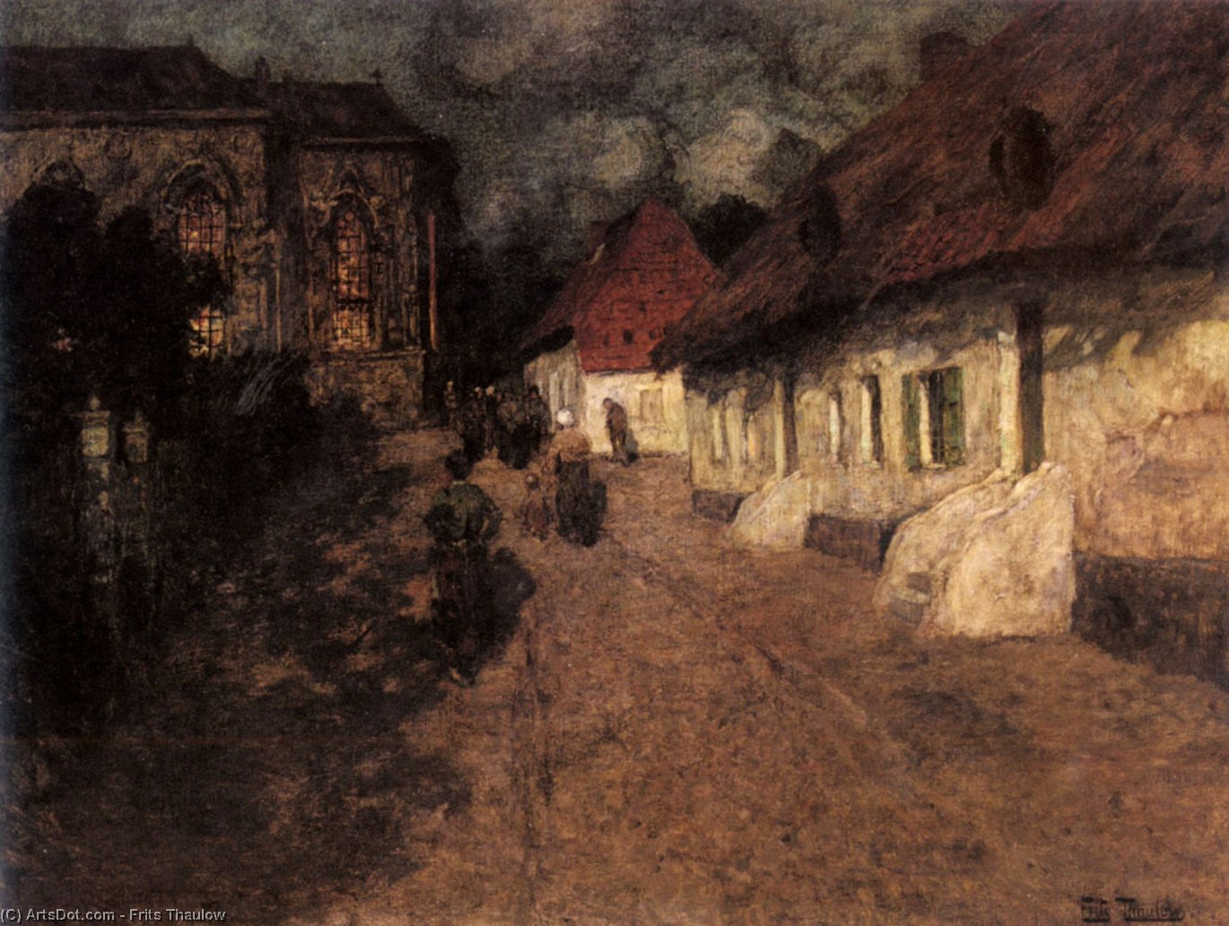 Midnight Mass, 1901 by Frits Thaulow (1847-1906, Norway) | Museum Quality Reproductions | ArtsDot.com