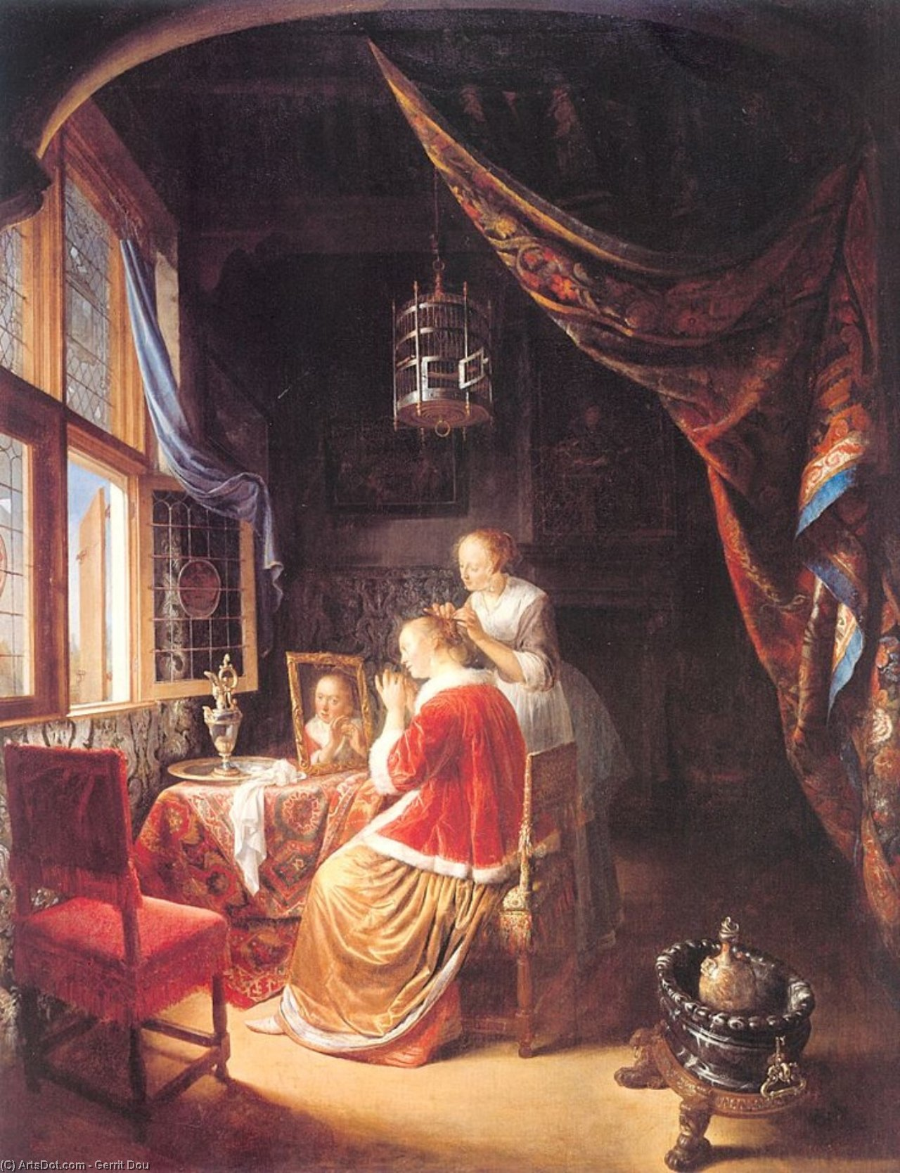 The Lady at her Dressing­Table by Gerrit (Gérard) Dou (1613-1675, Netherlands)