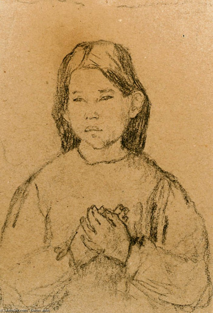 Half Length of a Girl with clasped Hands by Gwen John (1876-1939, United States) | Painting Copy | ArtsDot.com