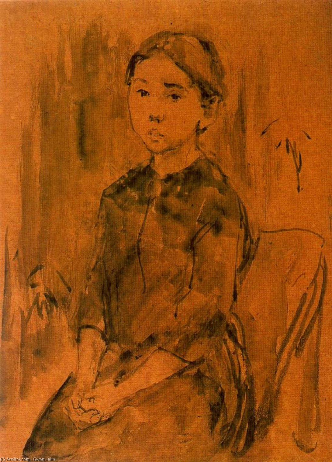 Study of Child by Gwen John (1876-1939, United States)
