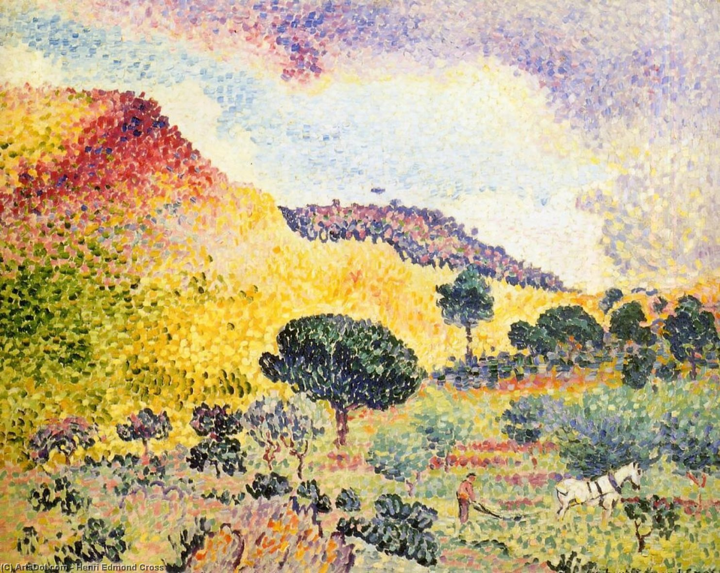 La Chaine des Maures, Oil On Canvas by Henri Edmond Cross (1856-1910, France)