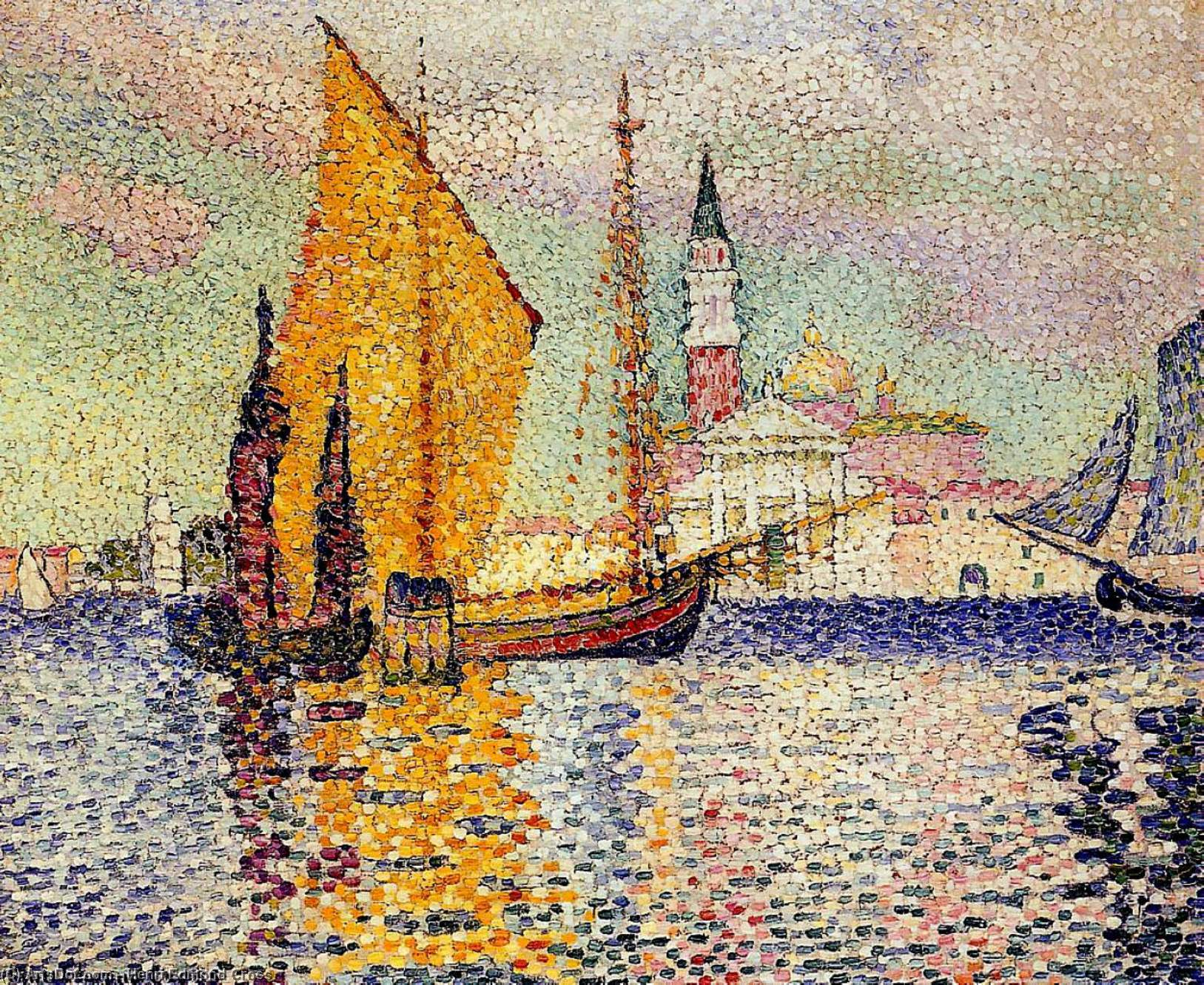 San Giorgio Maggiore, Venice, Oil On Canvas by Henri Edmond Cross (1856-1910, France)