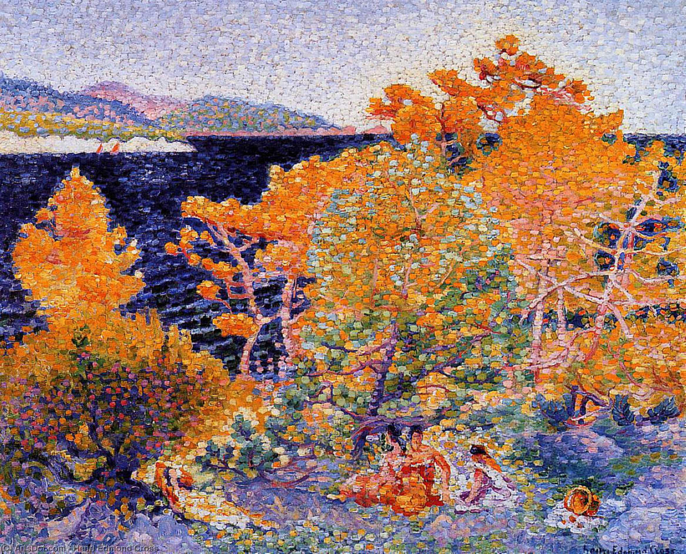 Siesta by the Water, Oil On Canvas by Henri Edmond Cross (1856-1910, France)