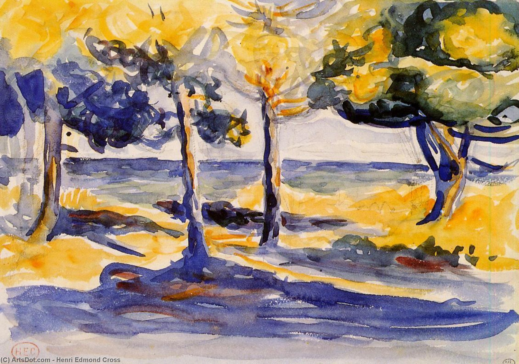 Trees by the Sea, Watercolour by Henri Edmond Cross (1856-1910, France)