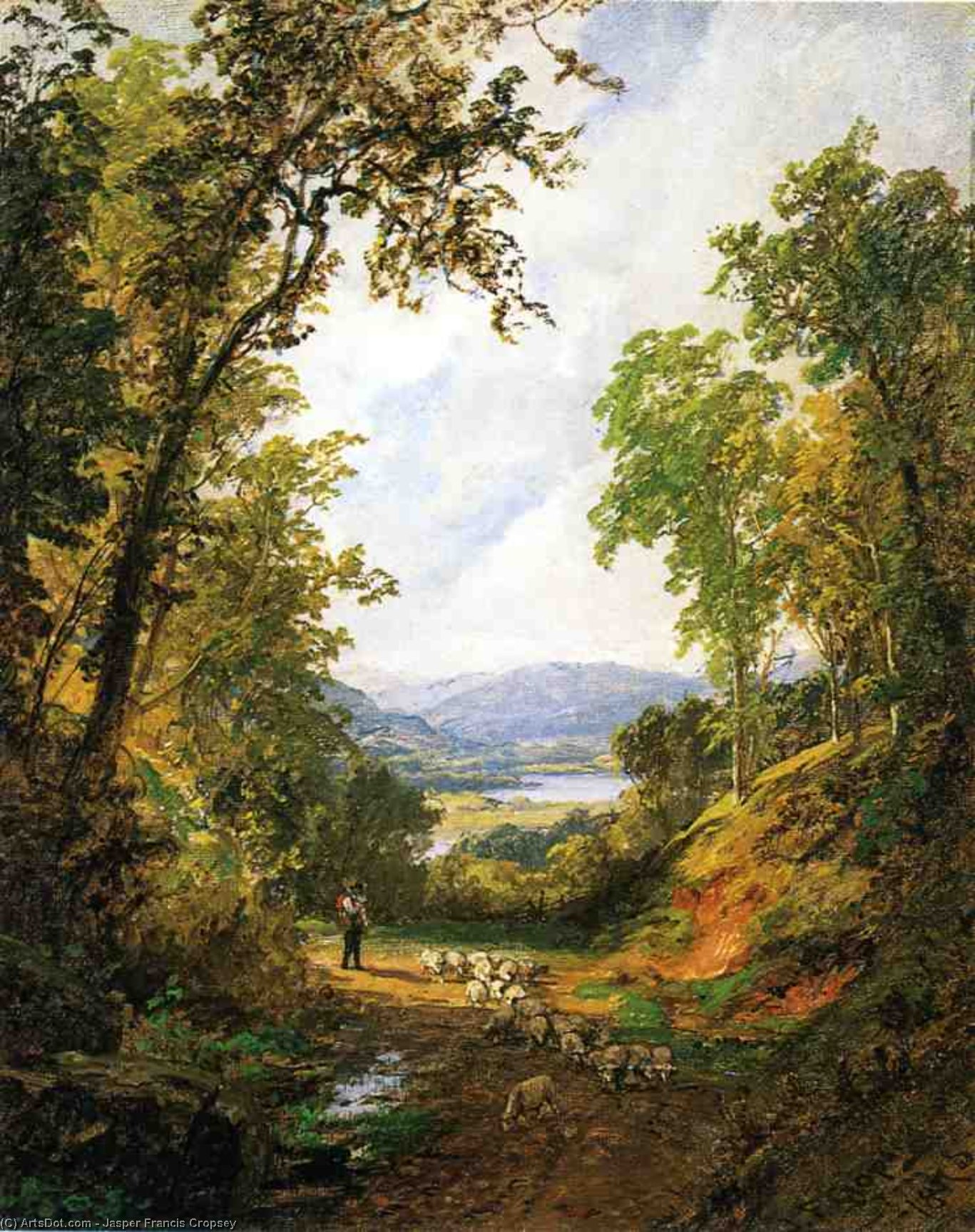 Shepherd and Flock, Oil On Canvas by Jasper Francis Cropsey (1823-1900, United States)