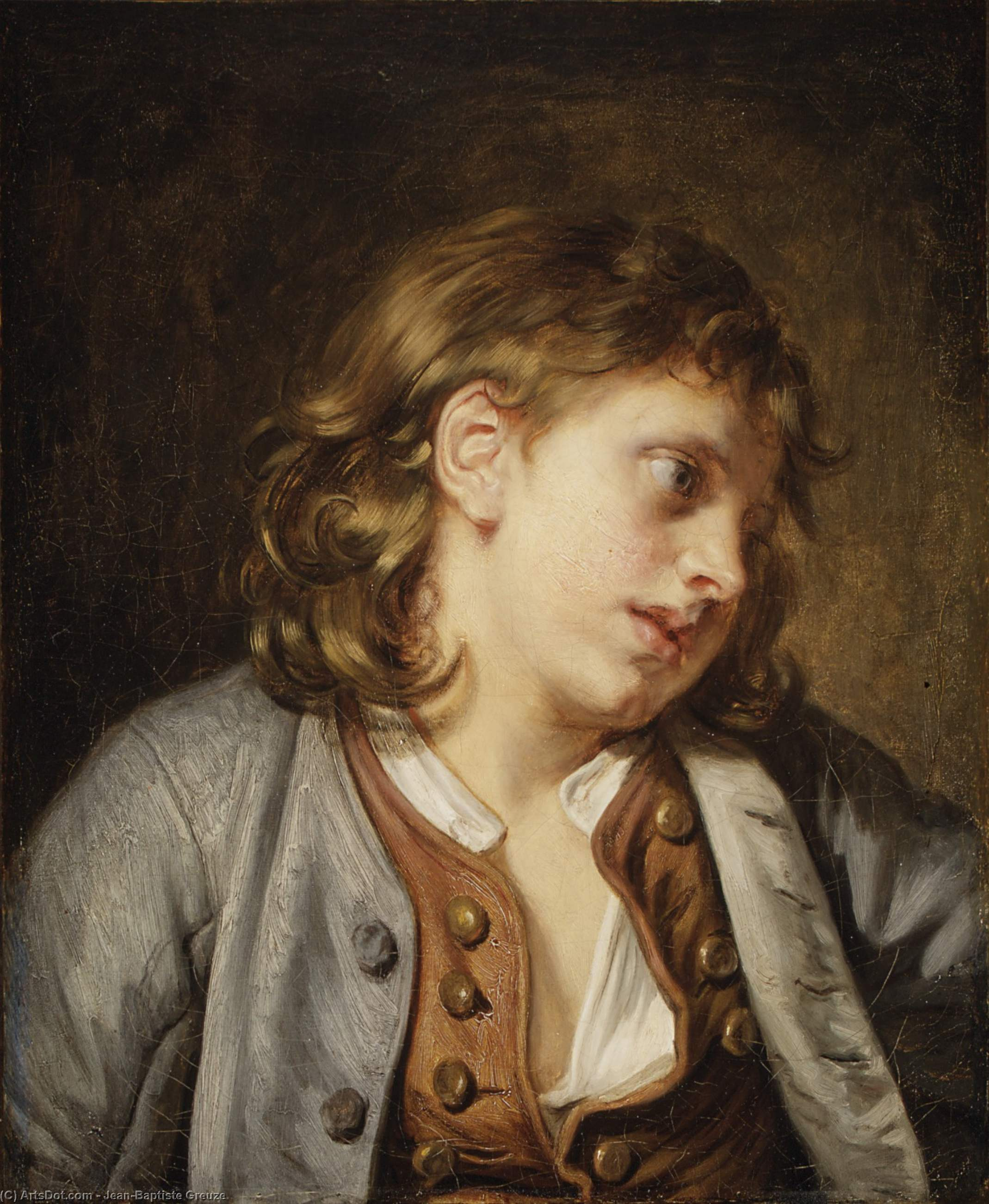 A Young Peasant Boy by Jean-Baptiste Greuze (1725-1805, France)