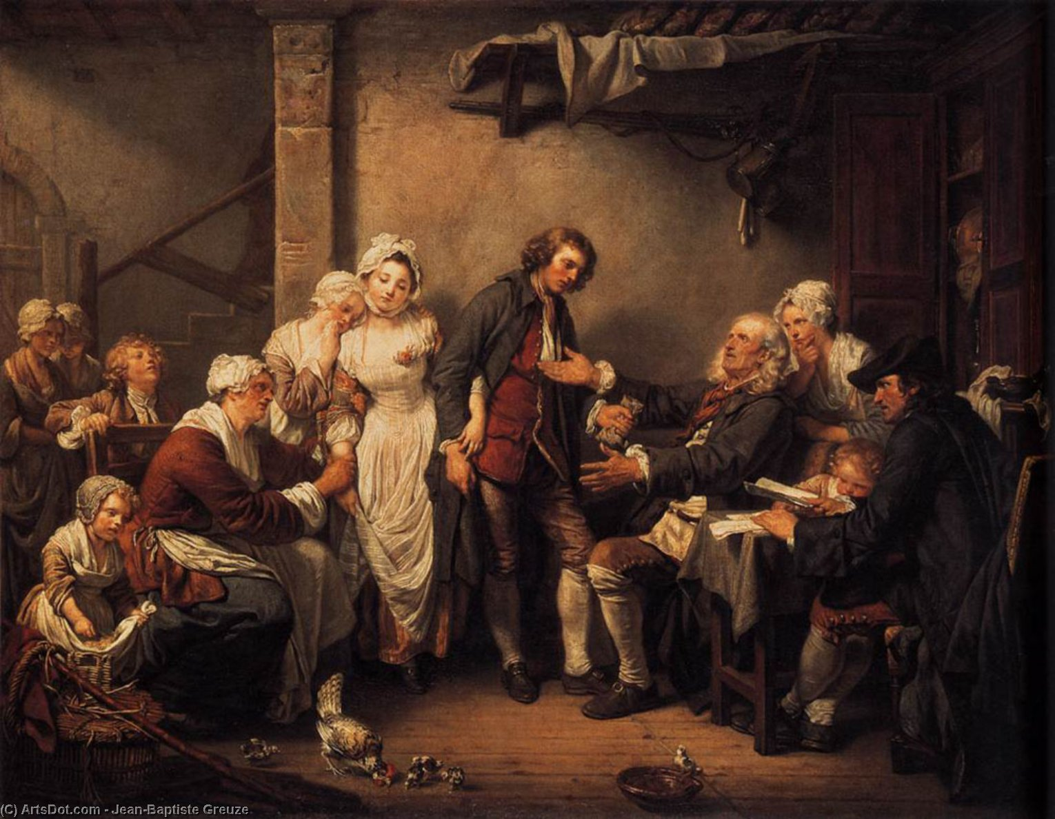 The Marriage Contract by Jean-Baptiste Greuze (1725-1805, France)