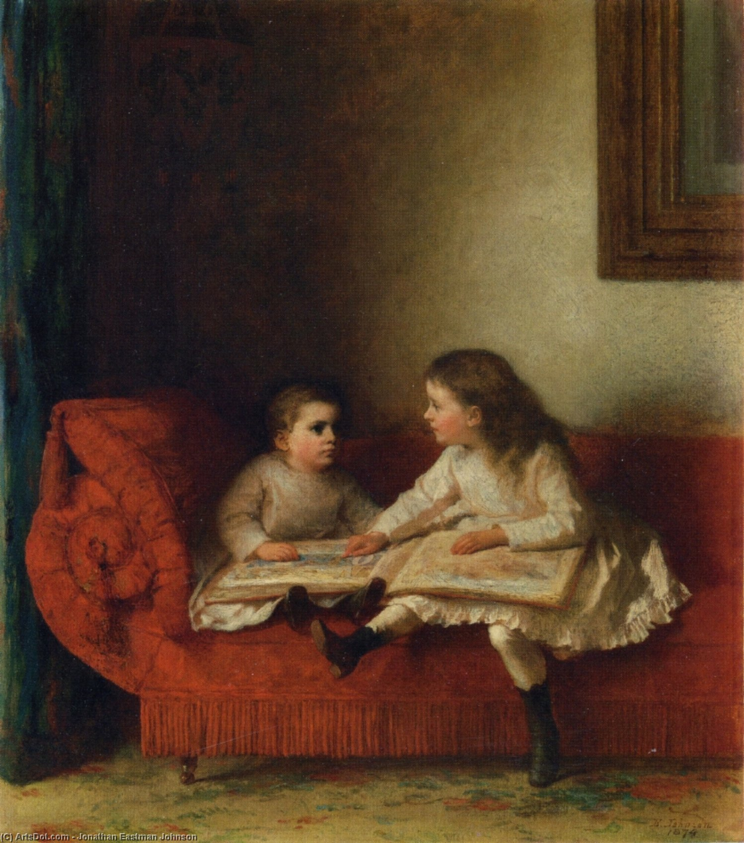 The Lesson (aka The Lesson with Page N.O.P. of the Alphabet Book) by Jonathan Eastman Johnson (1824-1906, United Kingdom) | Art Reproduction | ArtsDot.com