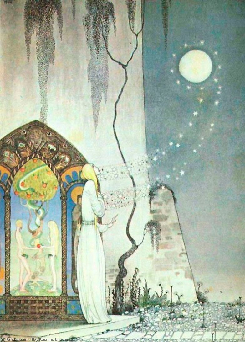 Pop! Out Flew the Moon by Kay Rasmus Nielsen (1886-1957, Denmark) | ArtsDot.com