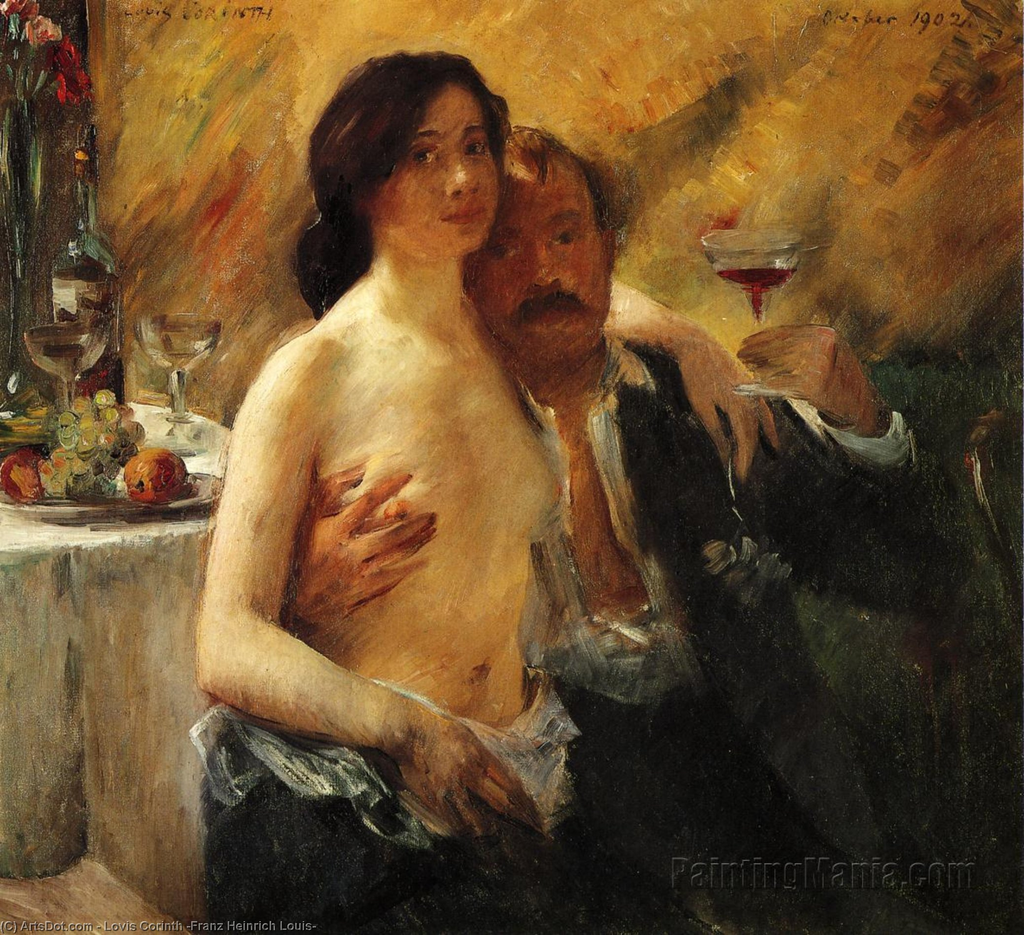 Self Portrait with Charlotte Berend and a Glass of Champagne, Oil On Canvas by Lovis Corinth (Franz Heinrich Louis) (1858-1925, Netherlands)