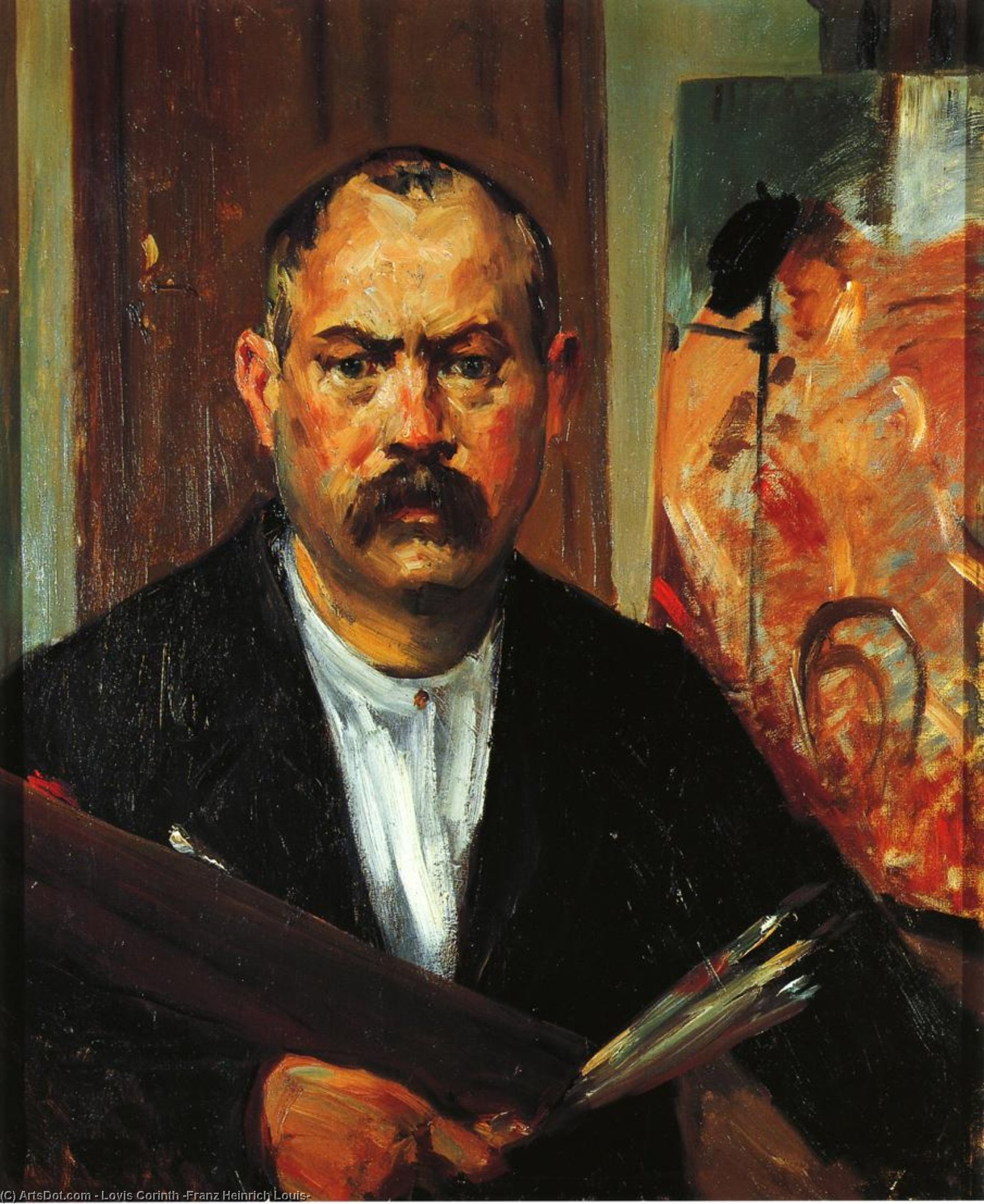 Self Portrait without Collar, Oil On Canvas by Lovis Corinth (Franz Heinrich Louis) (1858-1925, Netherlands)