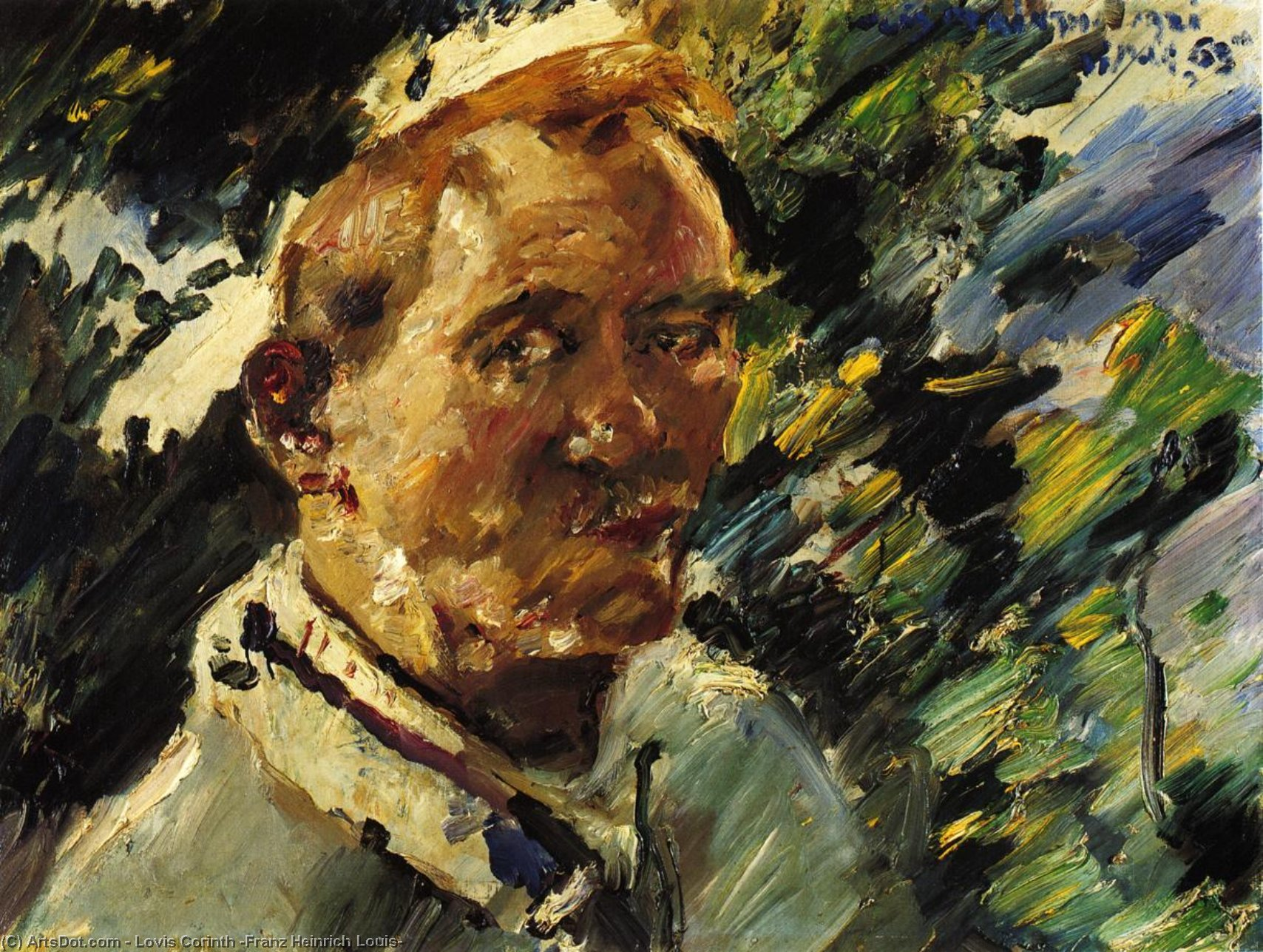 Small Self Portrait at the Walchensee, Oil On Canvas by Lovis Corinth (Franz Heinrich Louis) (1858-1925, Netherlands)