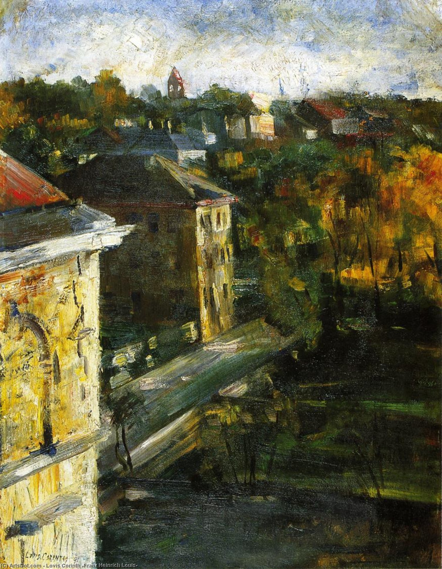 View from the Studio Window, Oil On Panel by Lovis Corinth (Franz Heinrich Louis) (1858-1925, Netherlands)