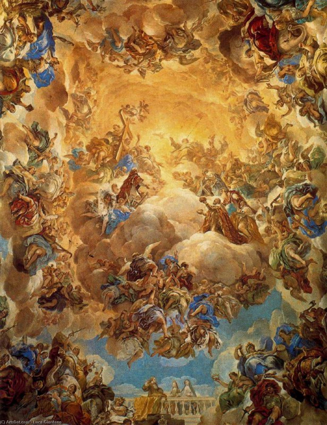Dome of the staircase by Luca Giordano (1634-1705, Italy)
