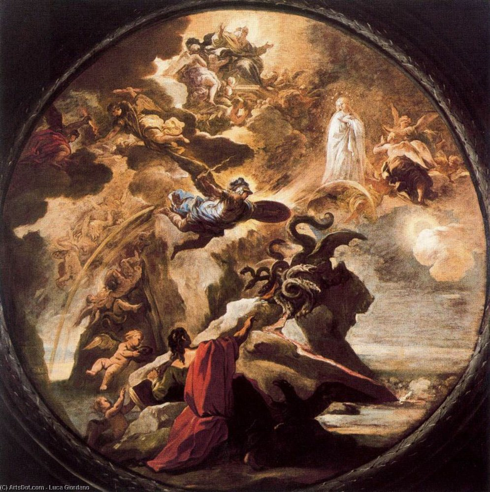 Vision of St. John the Evangelist on Patmos by Luca Giordano (1634-1705, Italy)