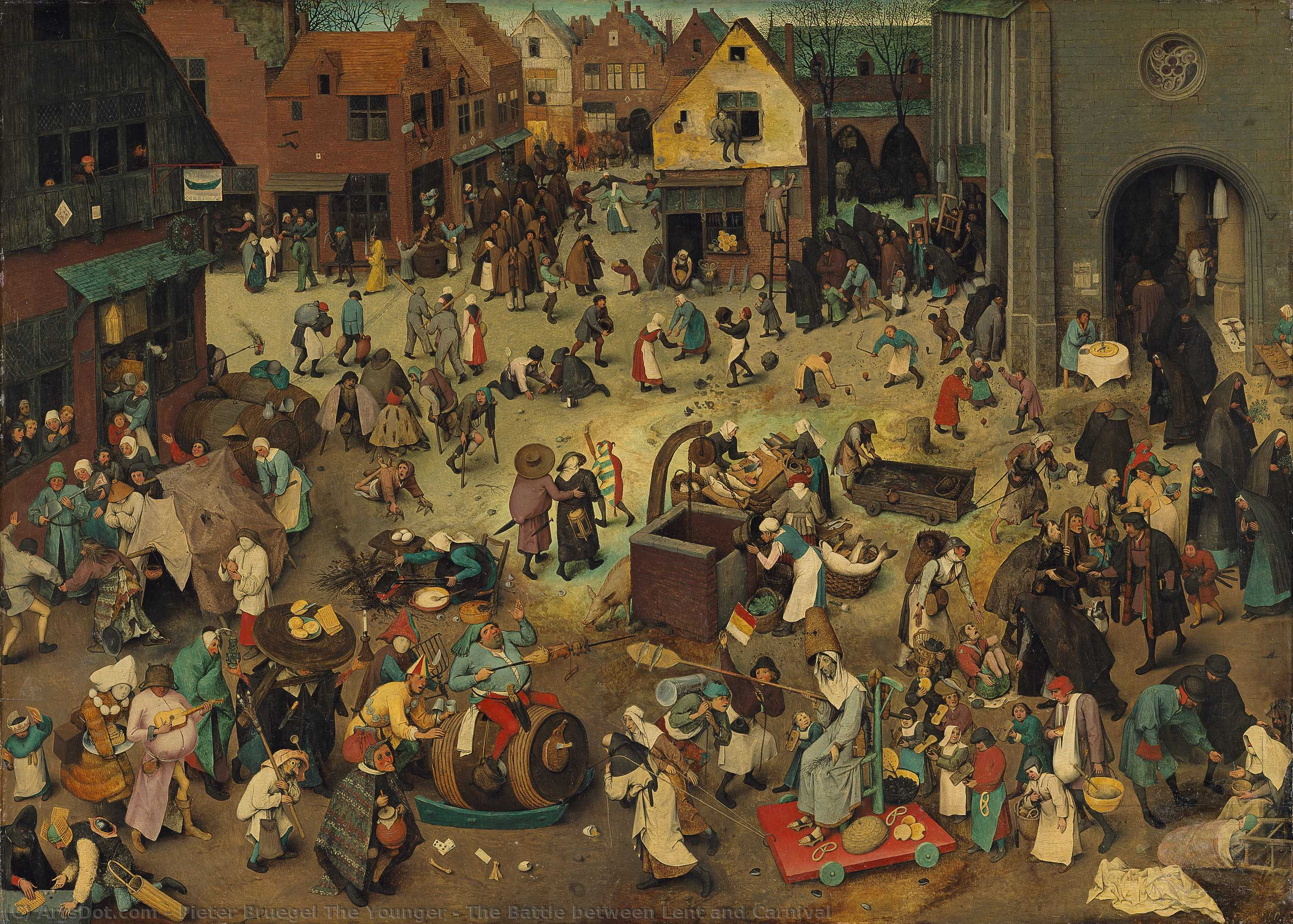 The Battle between Lent and Carnival by Pieter Bruegel The Younger (1525-1569, Belgium) | Museum Quality Reproductions | ArtsDot.com