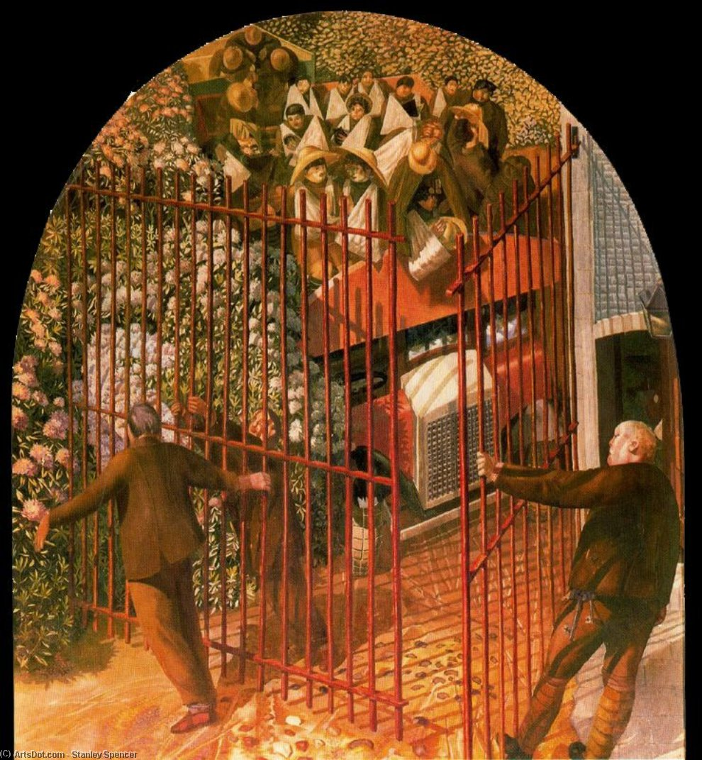 Convoy of Wounded soldiers arriving at Beaufort Hospital Gates by Stanley Spencer (1891-1959, United Kingdom) | ArtsDot.com