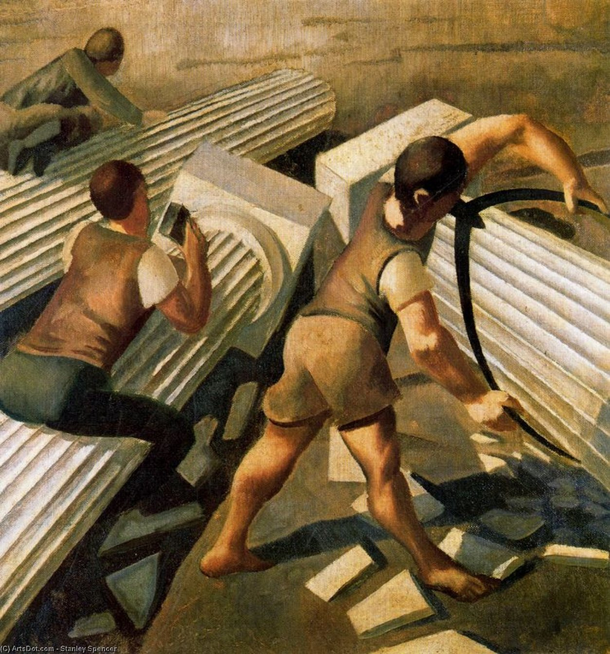 Making Columns for the Tower of Babel by Stanley Spencer (1891-1959, United Kingdom)